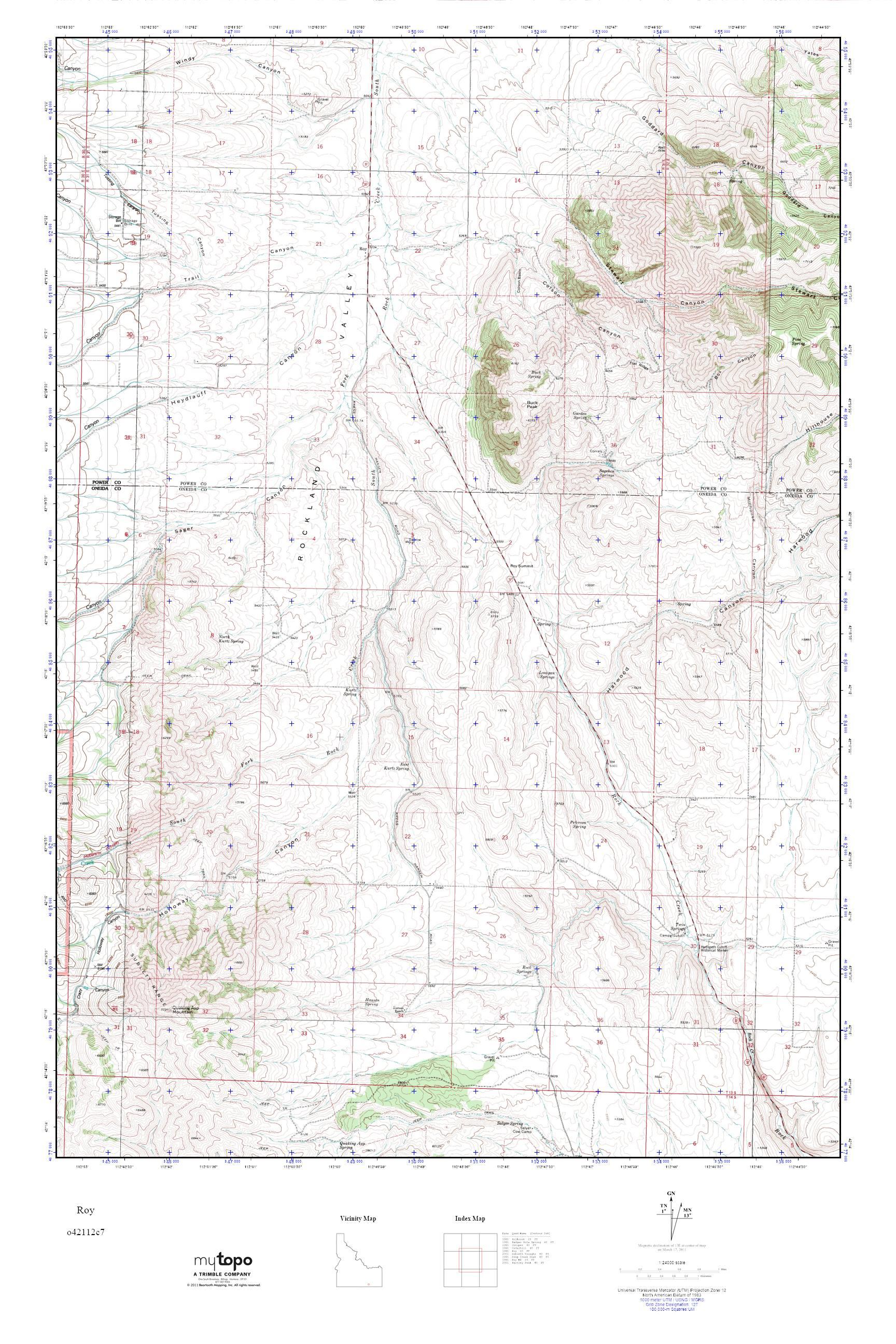 MyTopo Roy Idaho USGS Quad Topo Map - Usgs quad maps