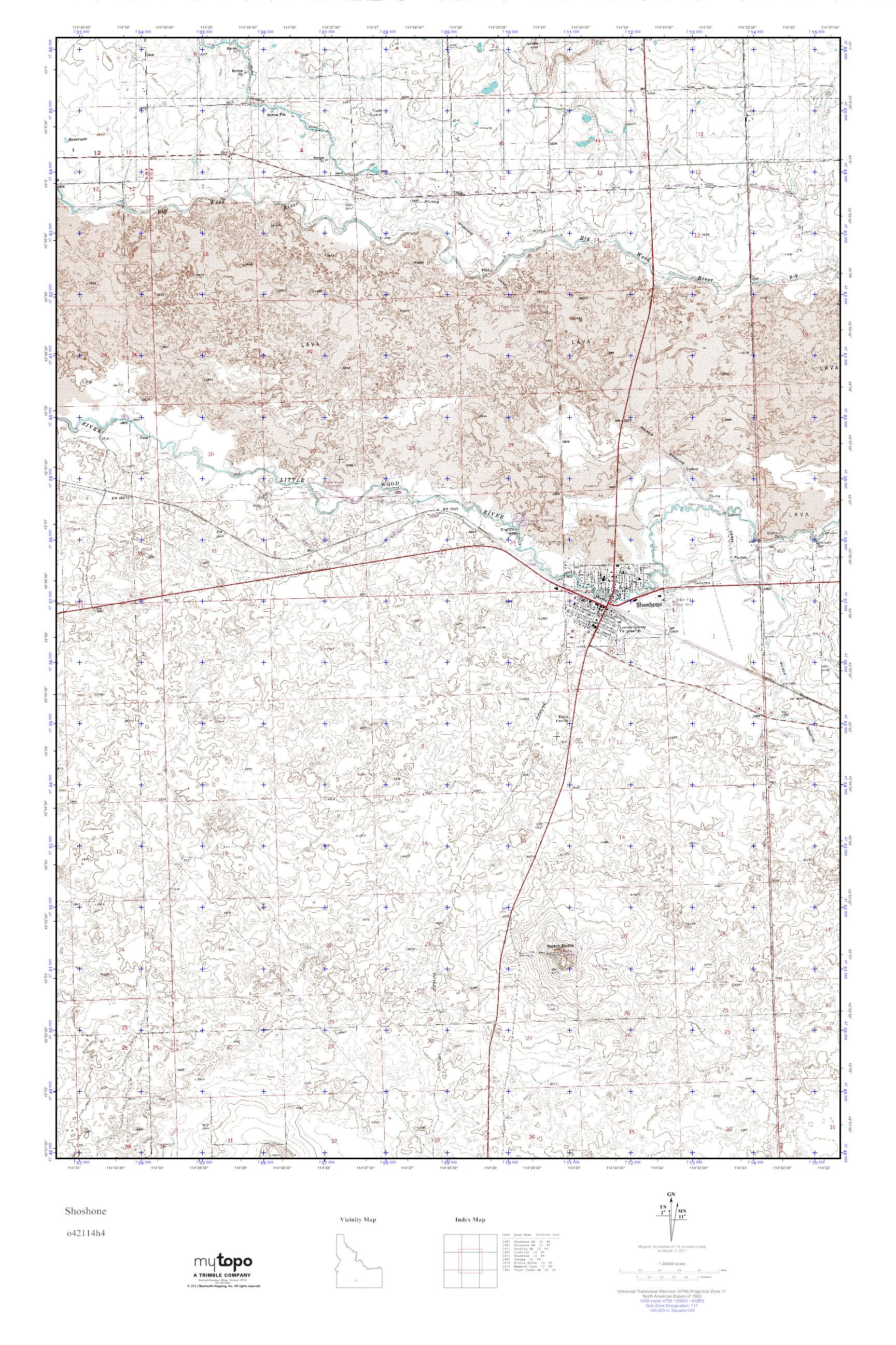 Shoshone Idaho Map.Mytopo Shoshone Idaho Usgs Quad Topo Map