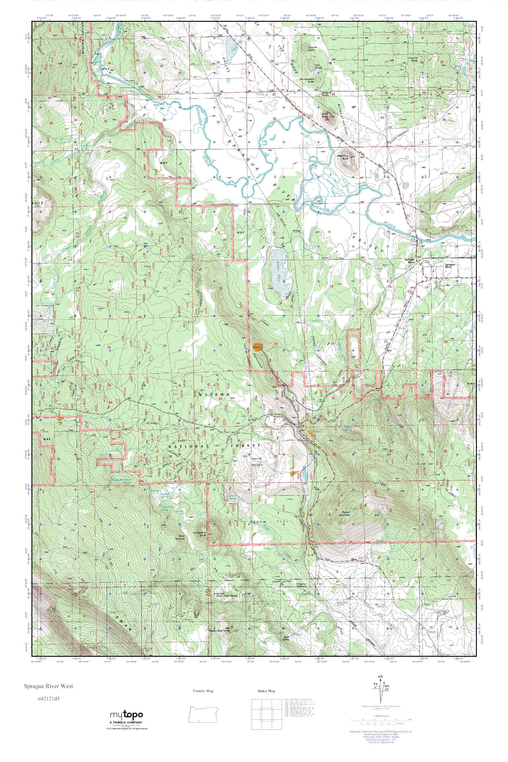 Mytopo Sprague River West Oregon Usgs Quad Topo Map