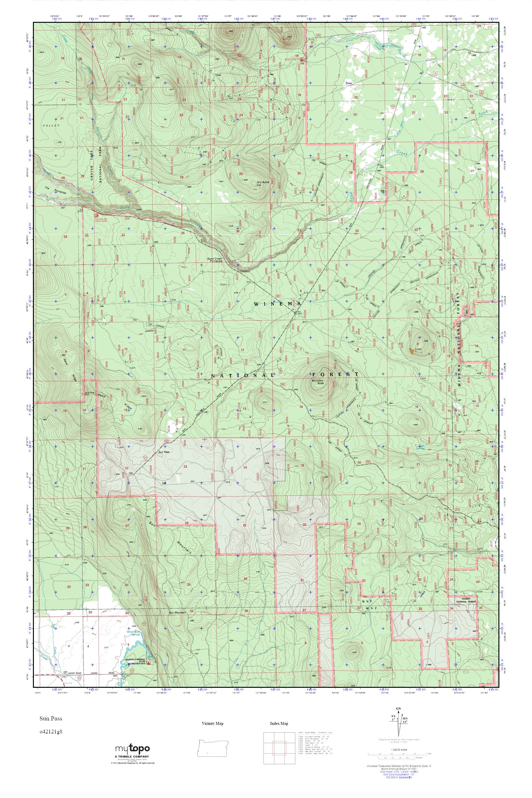 Mytopo Sun Pass Oregon Usgs Quad Topo Map