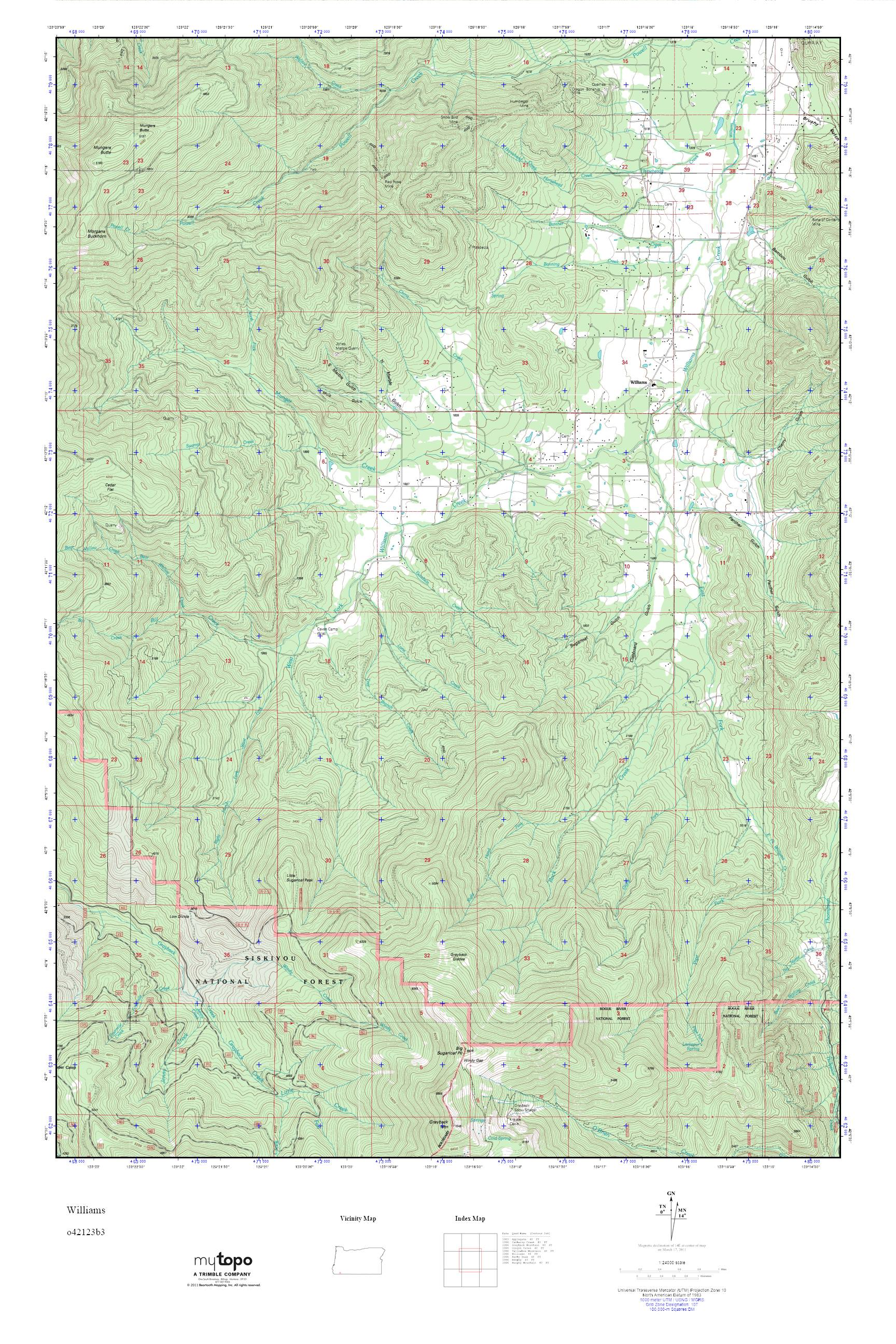 Mytopo Williams Oregon Usgs Quad Topo Map