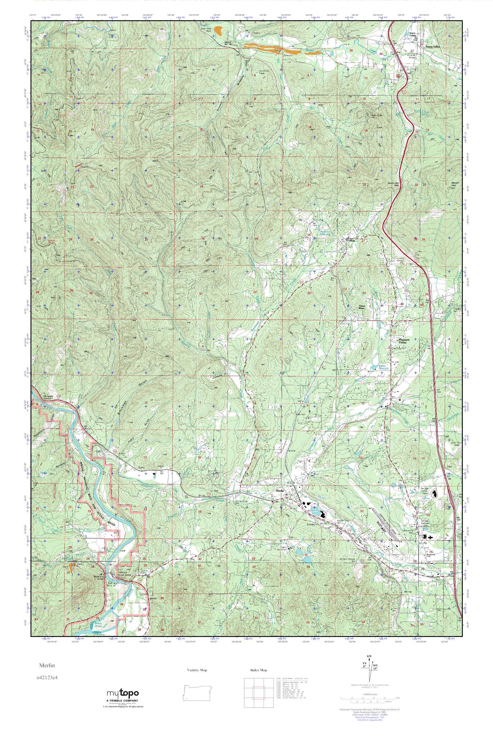 Mytopo Merlin Oregon Usgs Quad Topo Map
