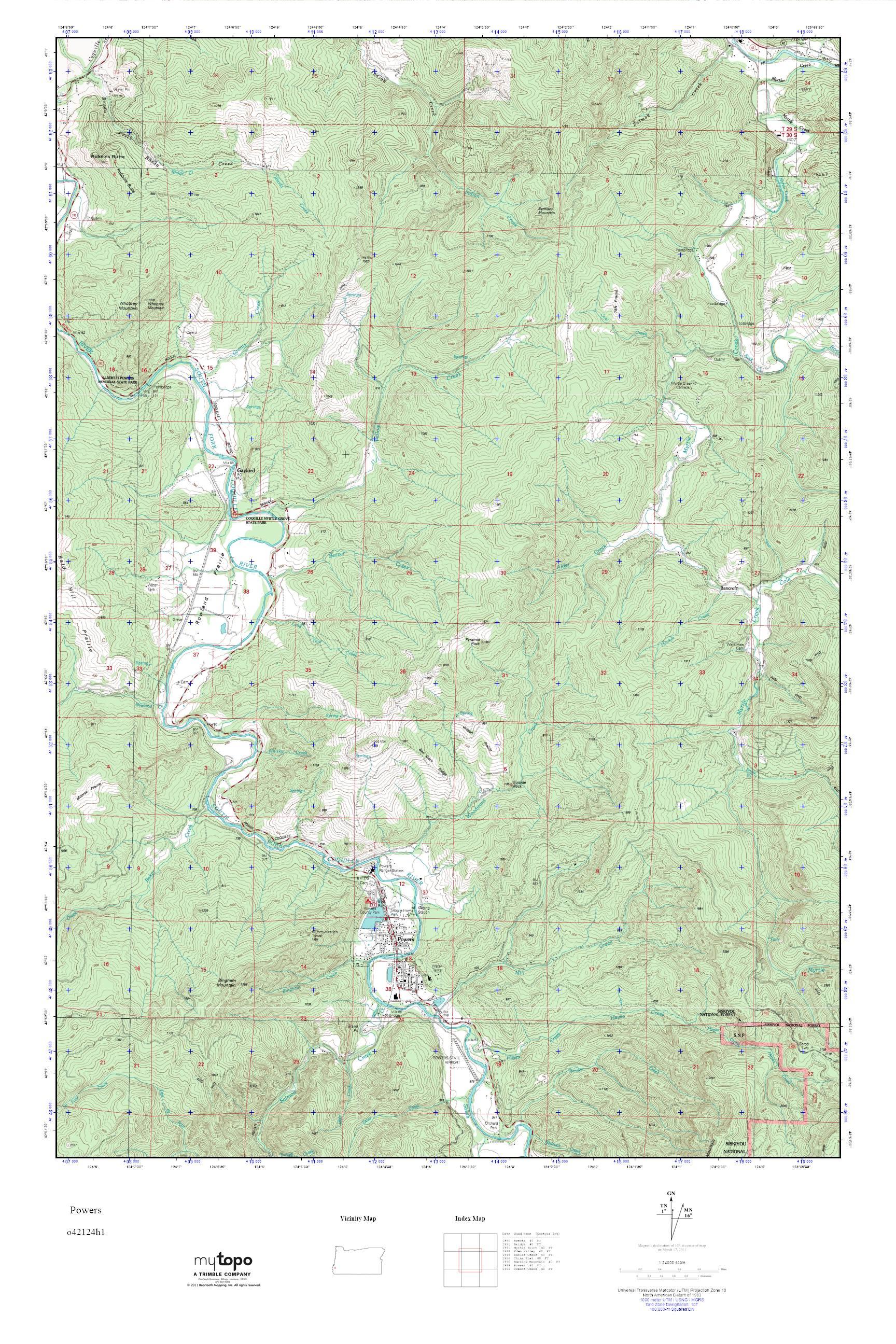 Mytopo Powers Oregon Usgs Quad Topo Map