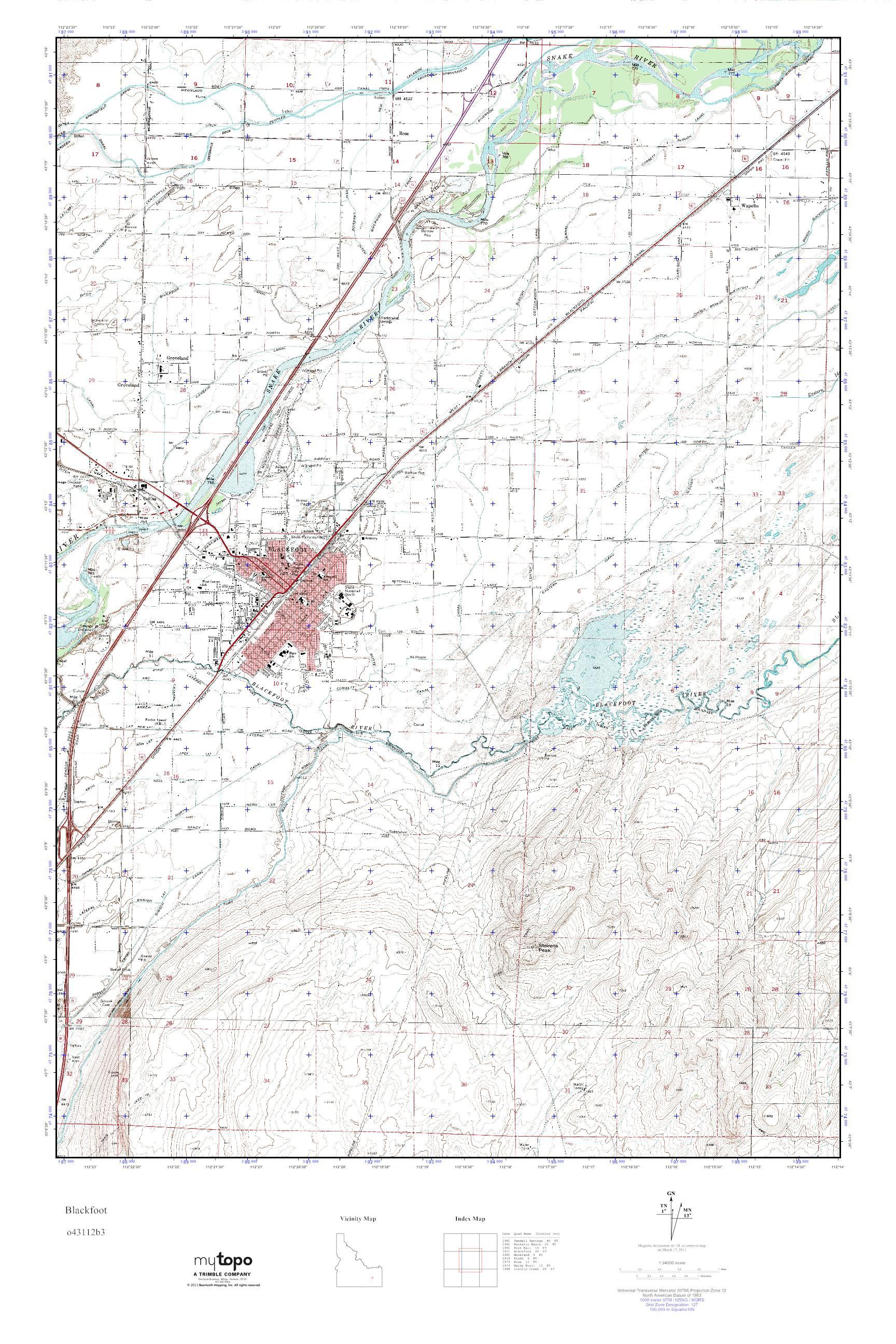 Mytopo Blackfoot Idaho Usgs Quad Topo Map