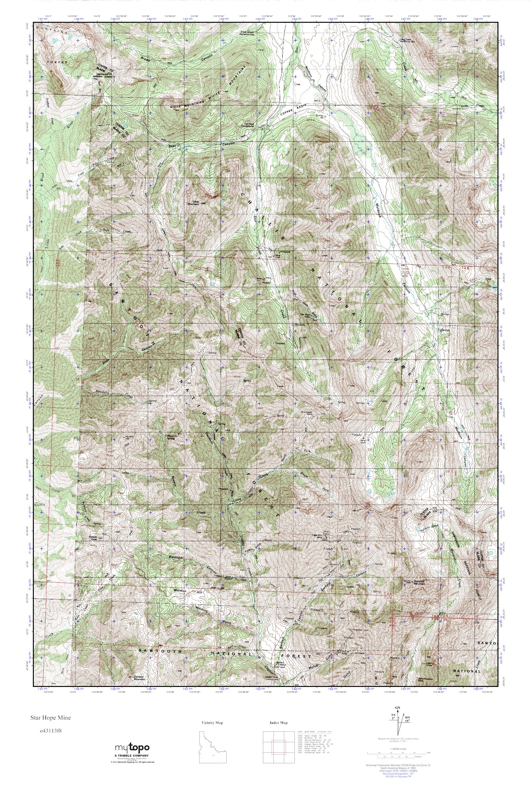 Mytopo Star Hope Mine Idaho Usgs Quad Topo Map
