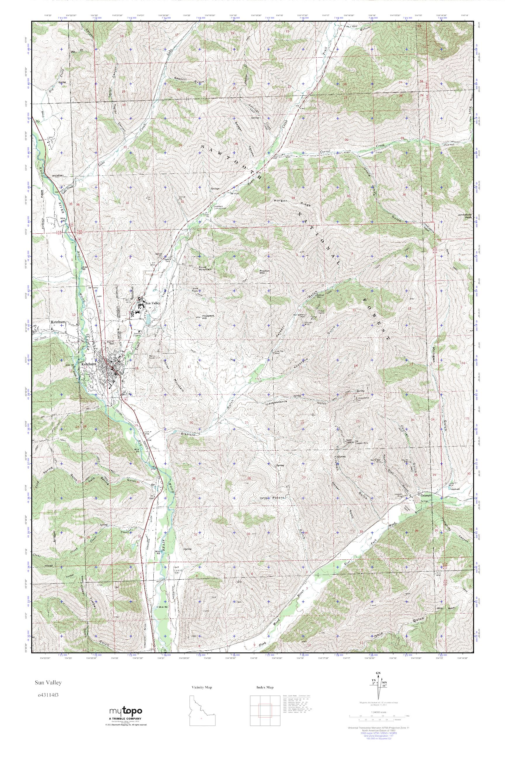 MyTopo Sun Valley, Idaho USGS Quad Topo Map