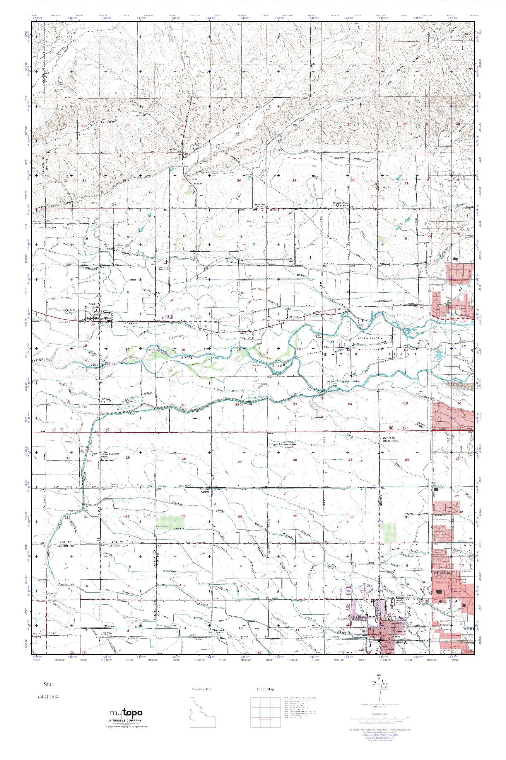 Mytopo Star Idaho Usgs Quad Topo Map