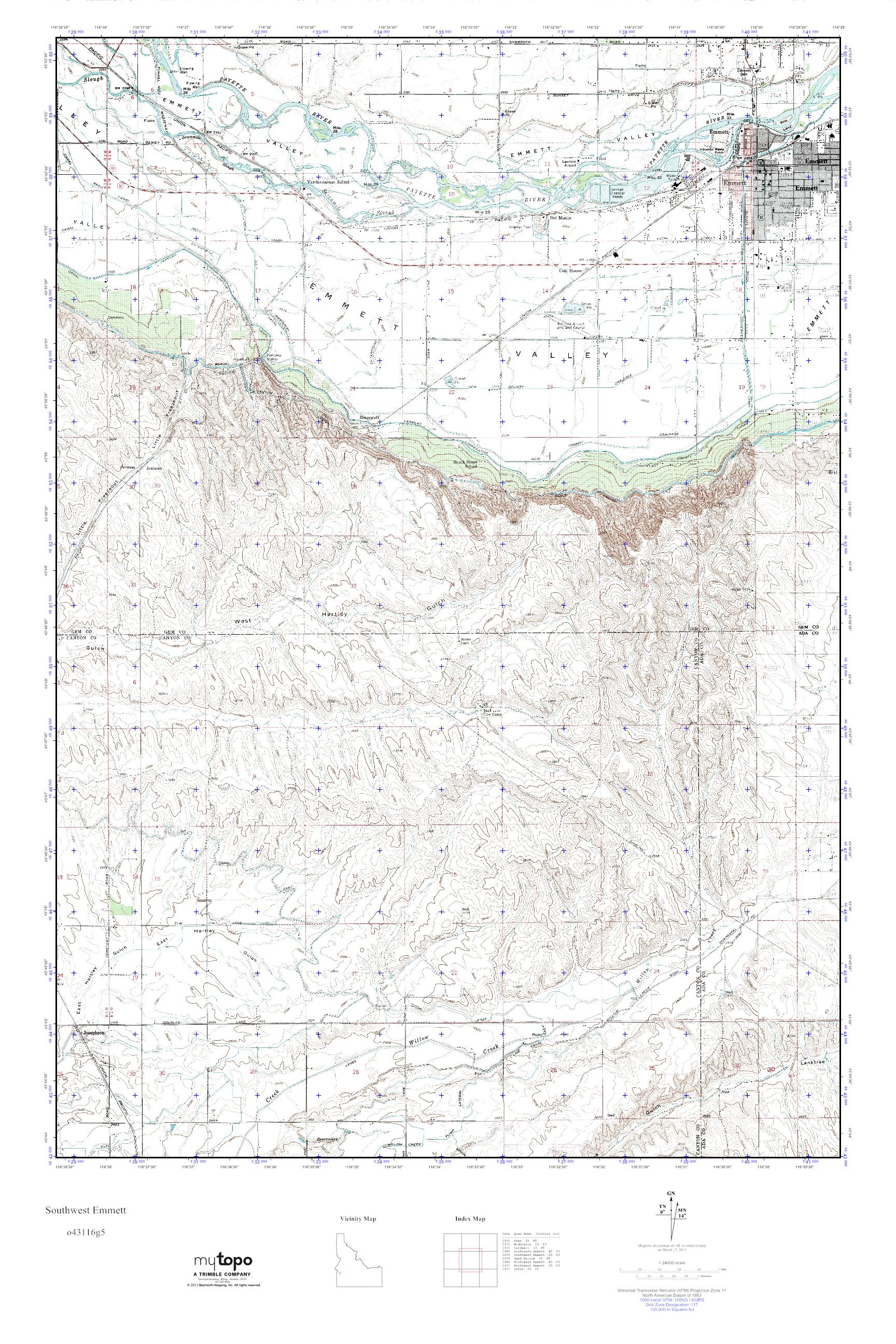 Mytopo Southwest Emmett Idaho Usgs Quad Topo Map