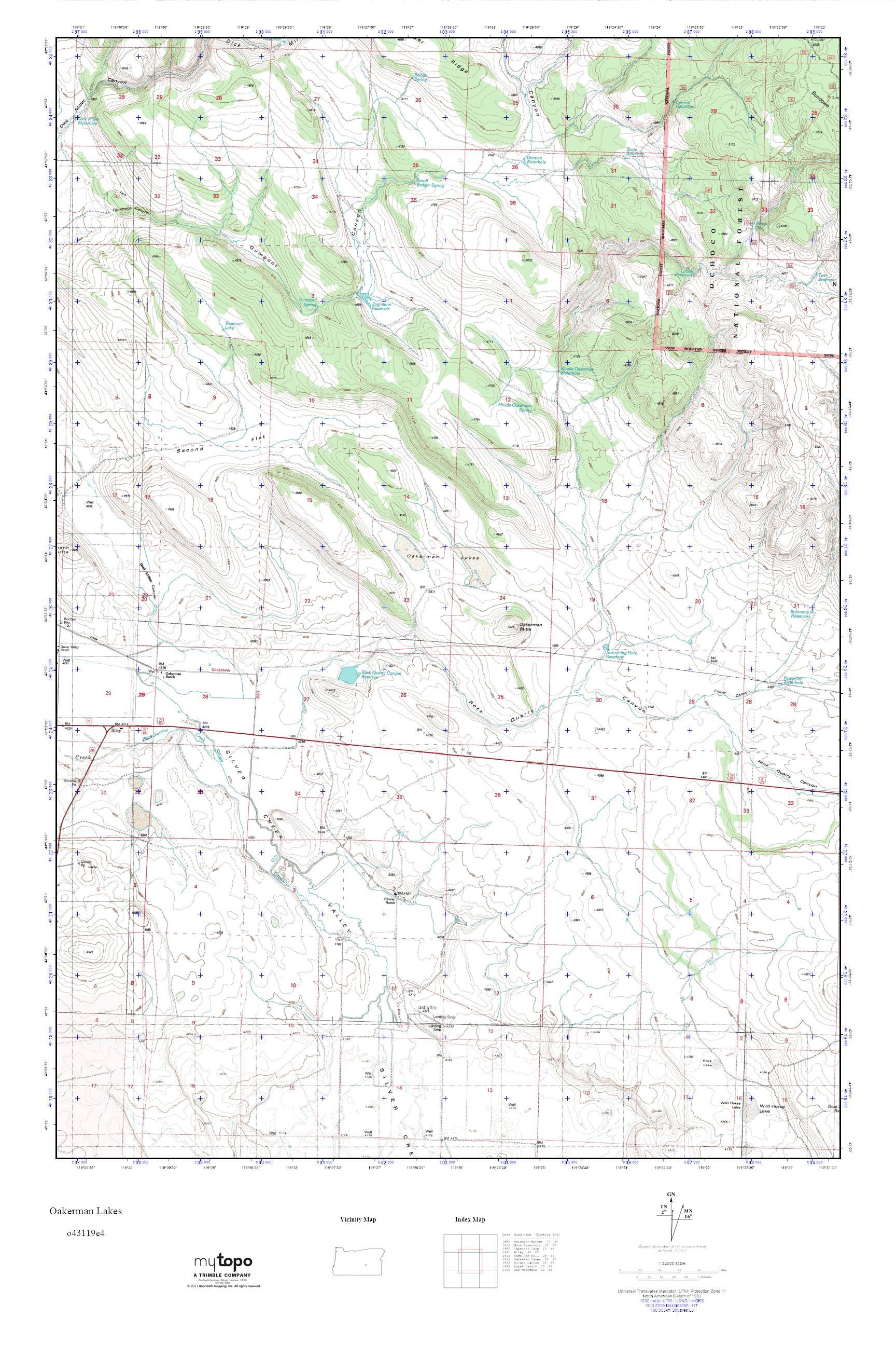 Mytopo Oakerman Lakes Oregon Usgs Quad Topo Map