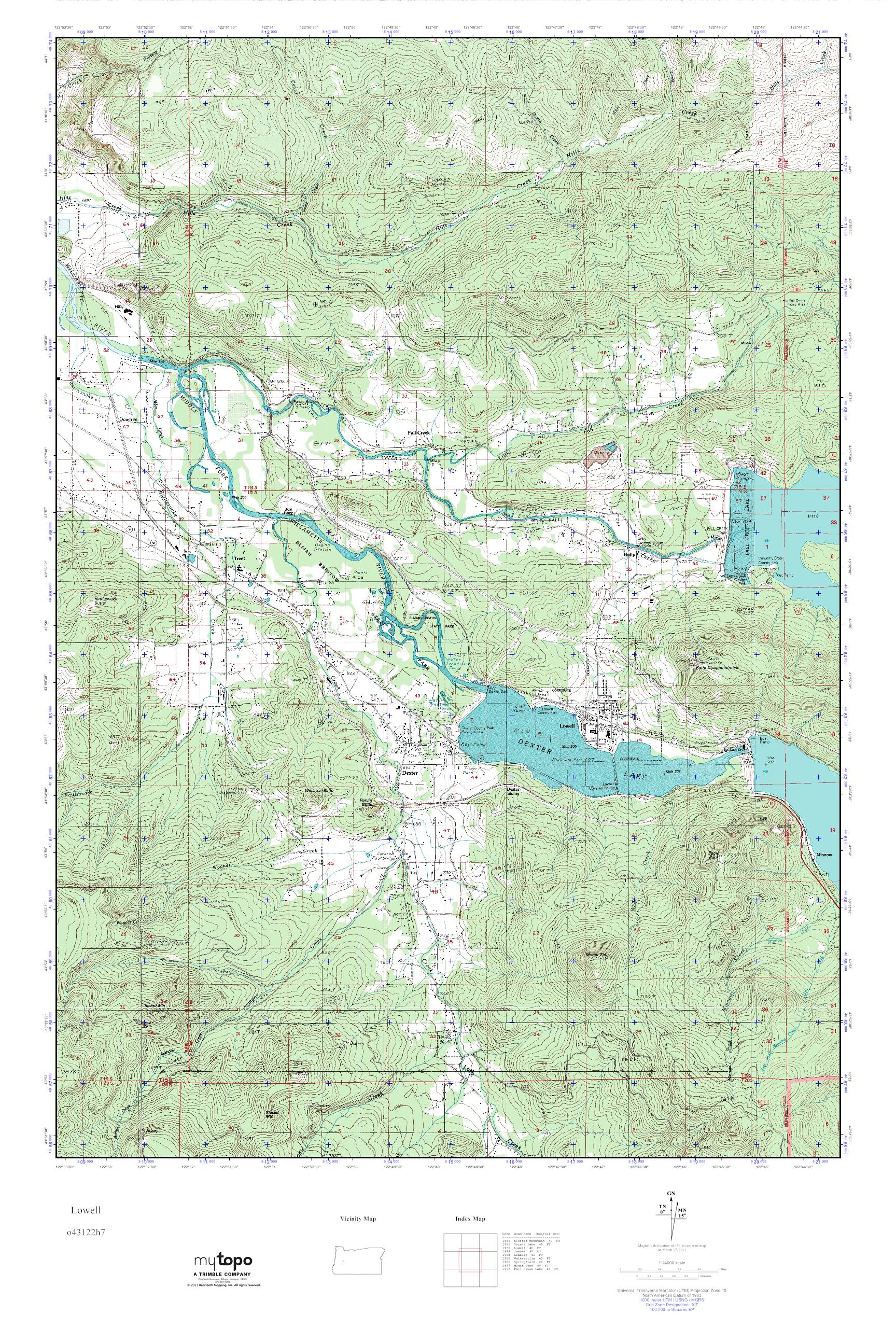 Lowell Oregon Map.Mytopo Lowell Oregon Usgs Quad Topo Map