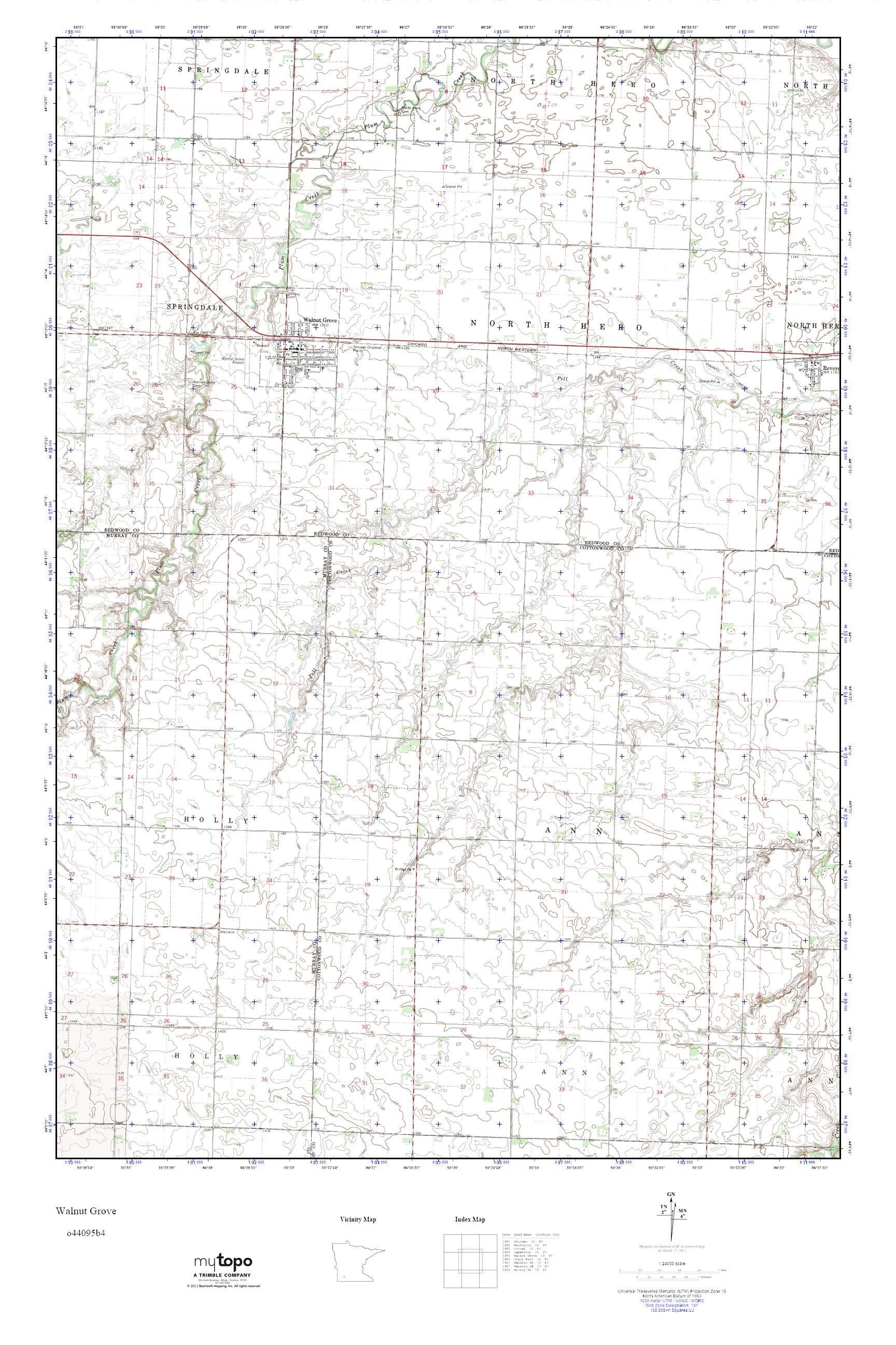 Mytopo Walnut Grove Minnesota Usgs Quad Topo Map