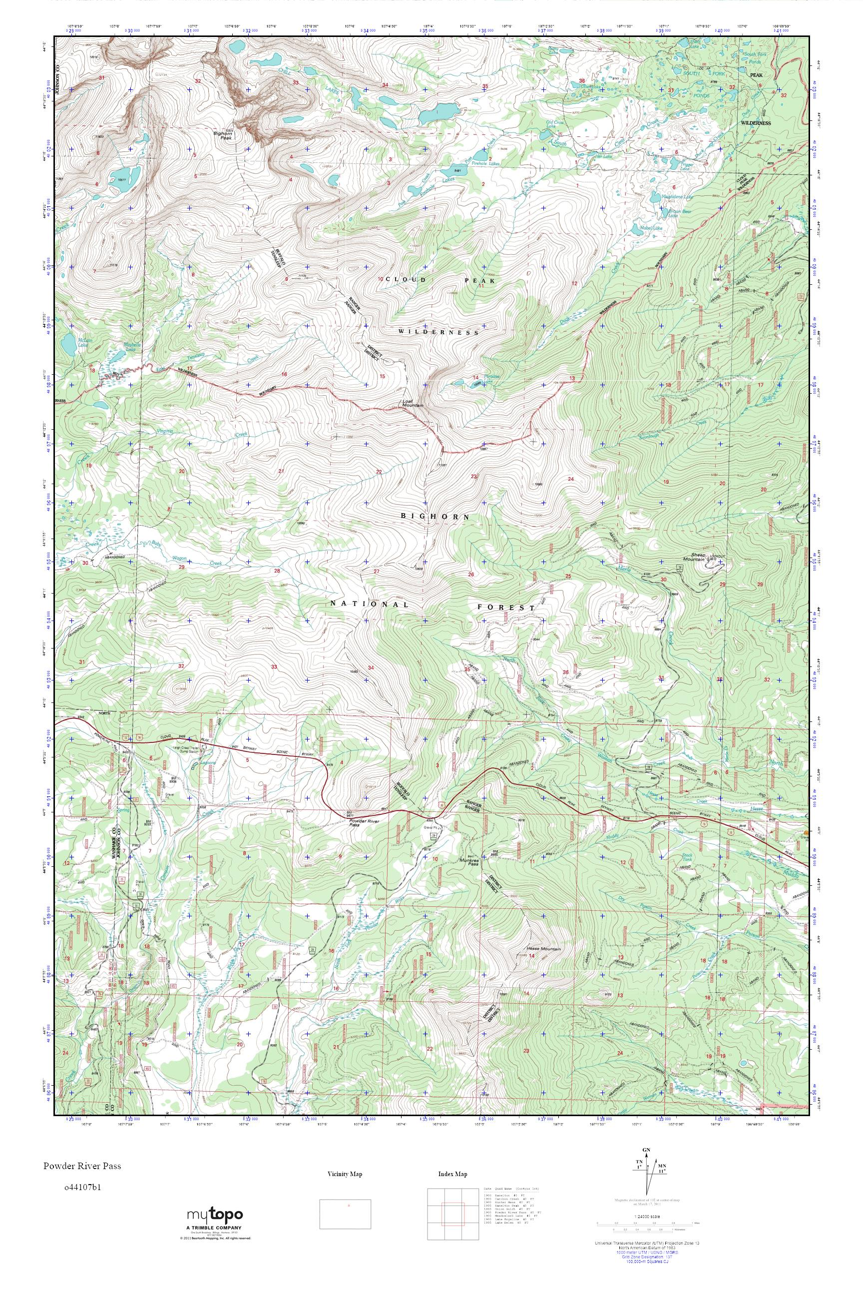 Powder River Wyoming Map.Mytopo Powder River Pass Wyoming Usgs Quad Topo Map