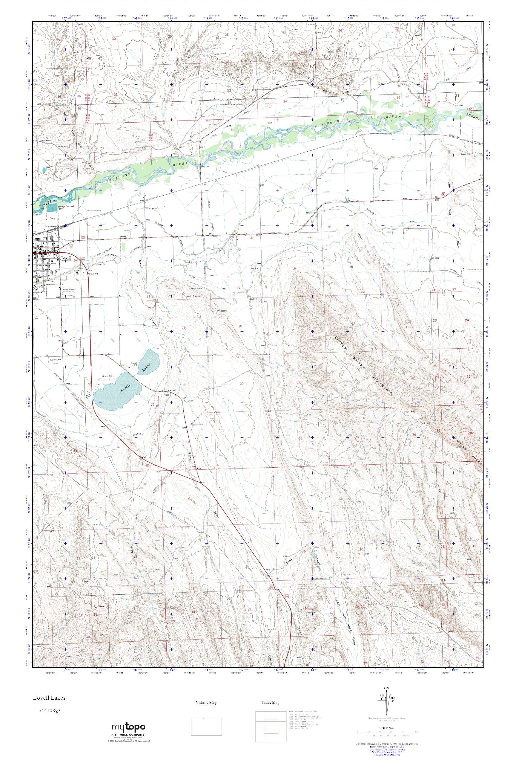Mytopo Lovell Lakes Wyoming Usgs Quad Topo Map