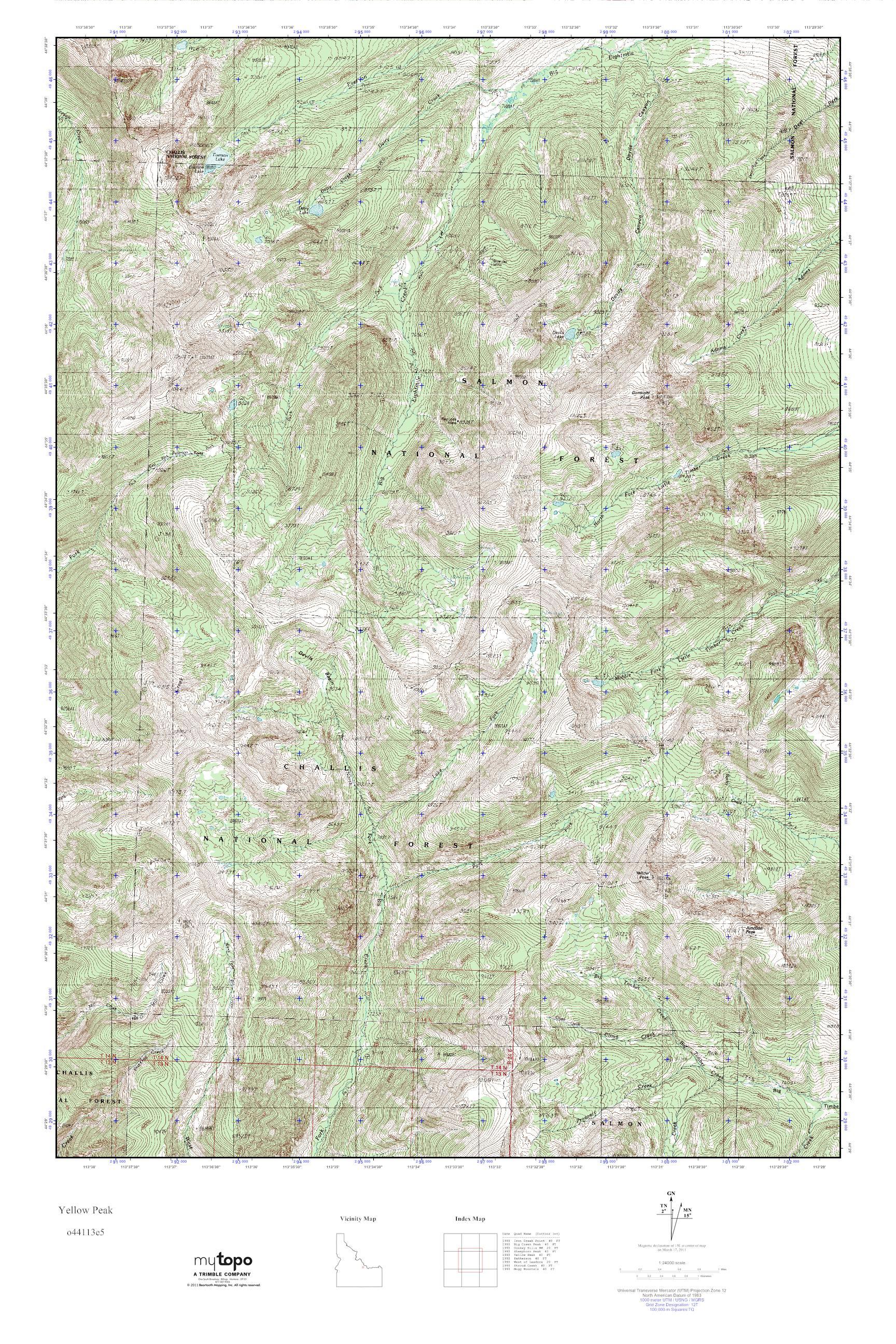 MyTopo Yellow Peak, Idaho USGS Quad Topo Map