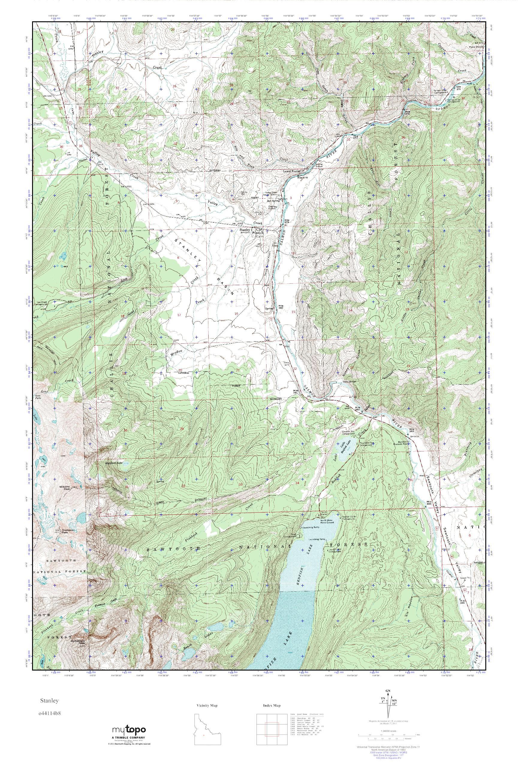 MyTopo Stanley, Idaho USGS Quad Topo Map
