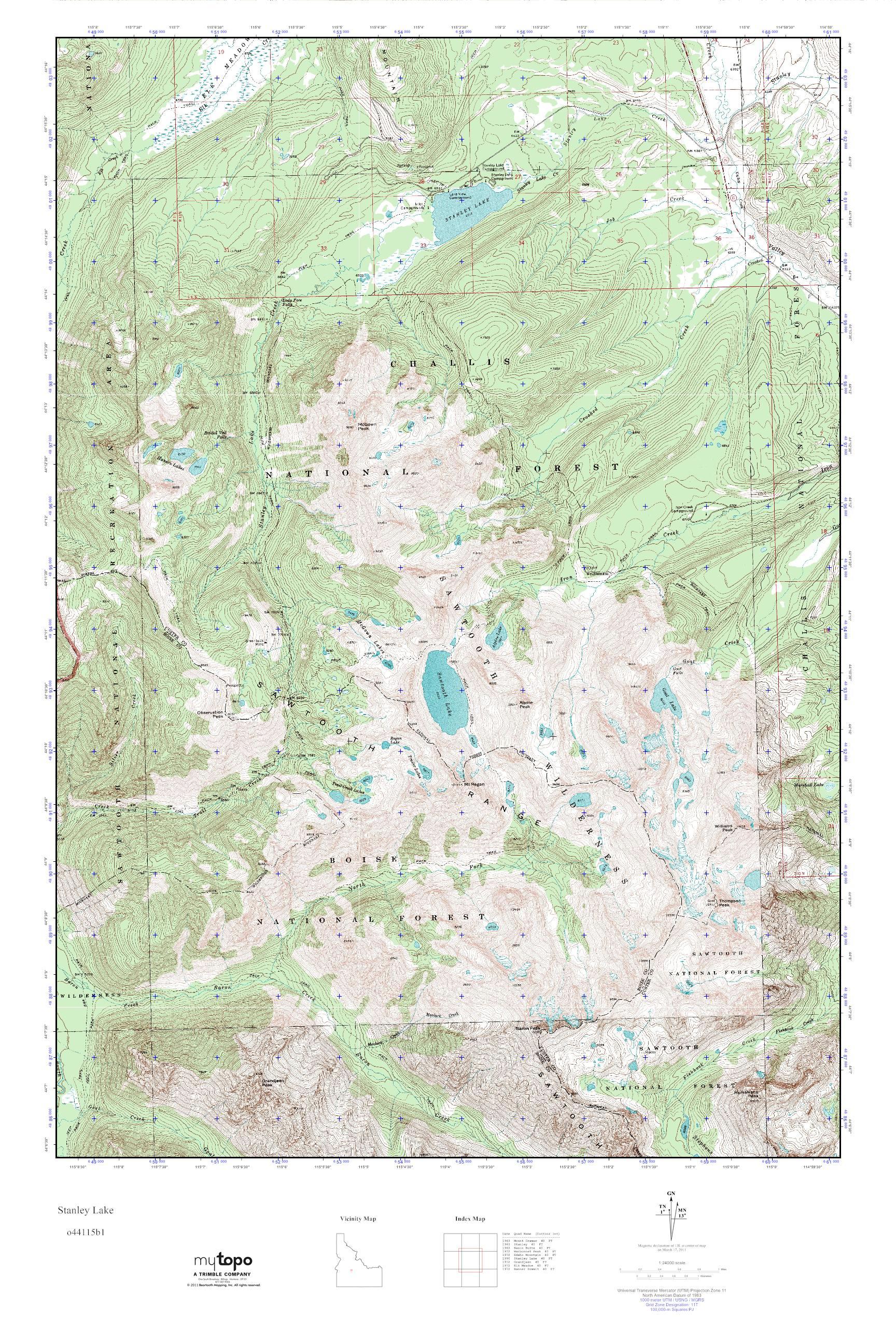 MyTopo Stanley Lake, Idaho USGS Quad Topo Map