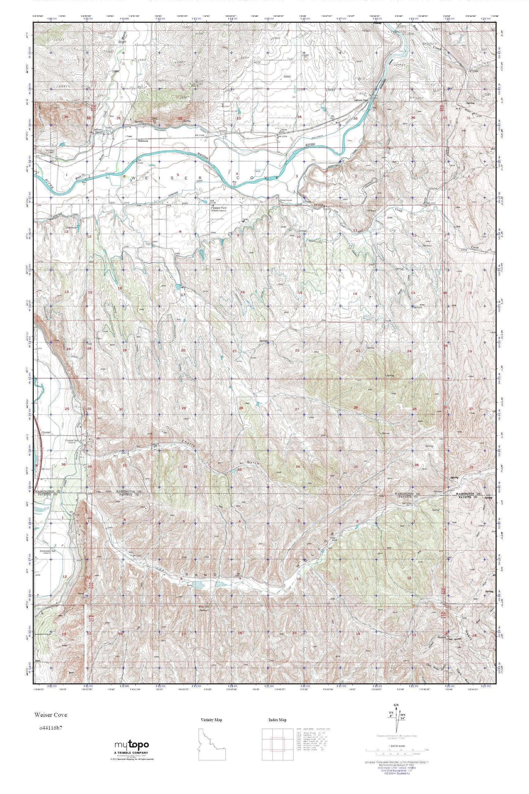 Mytopo Weiser Cove Idaho Usgs Quad Topo Map