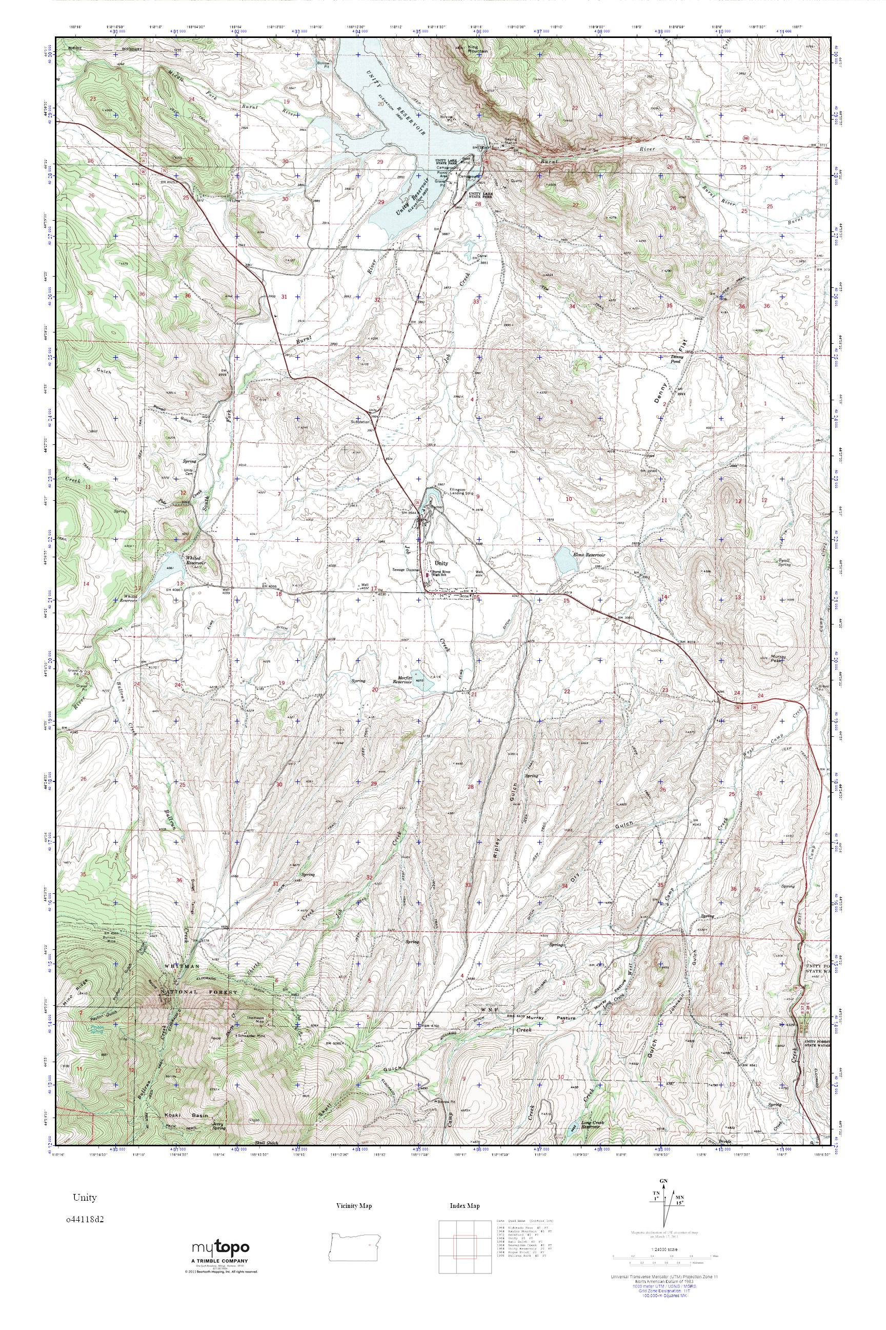 MyTopo Unity Oregon USGS Quad Topo Map