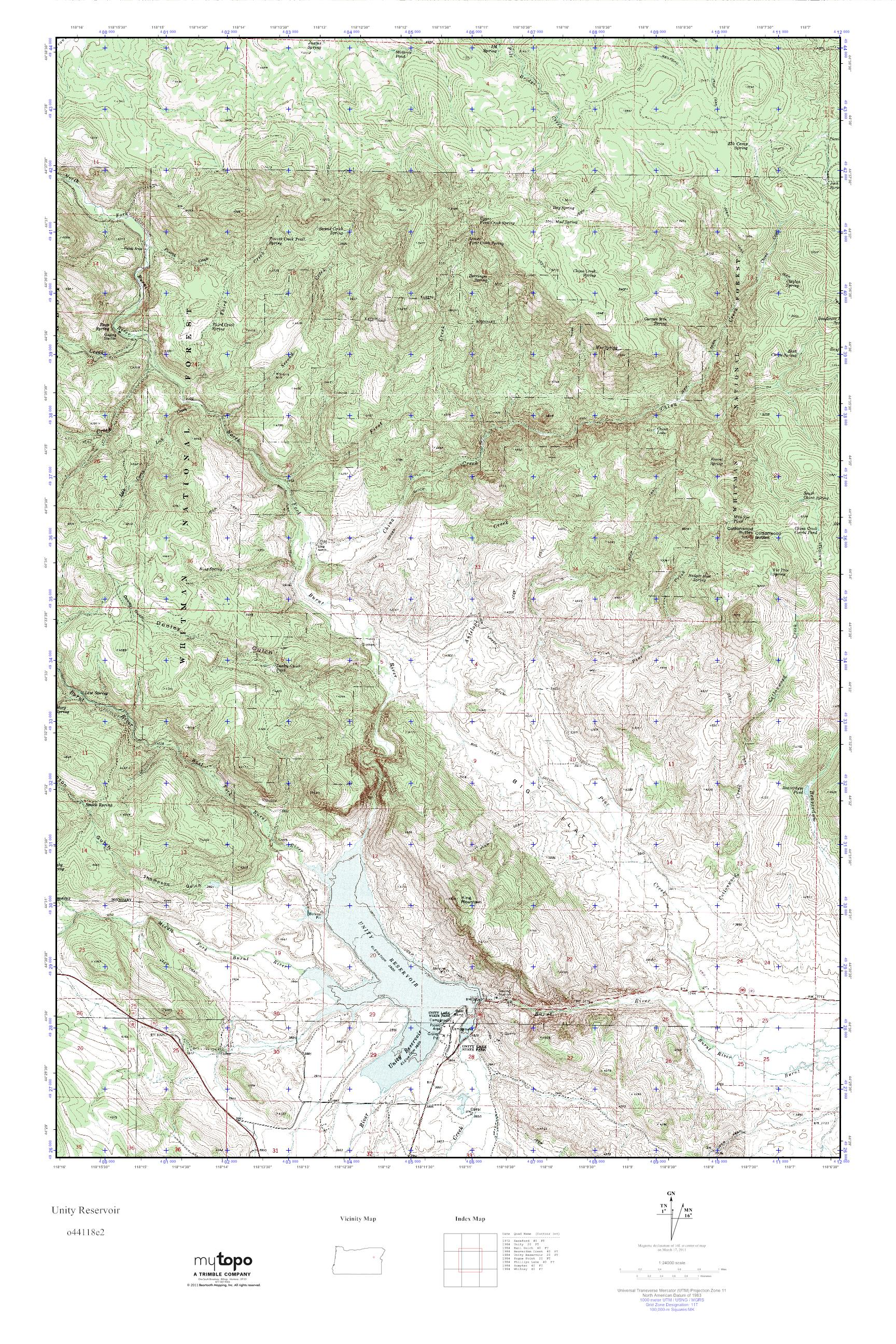 MyTopo Unity Reservoir Oregon USGS Quad Topo Map