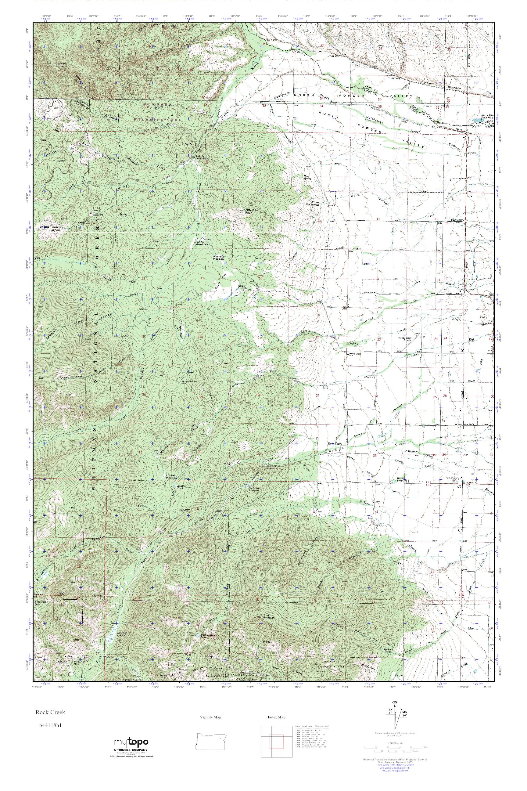 Mytopo Rock Creek Oregon Usgs Quad Topo Map