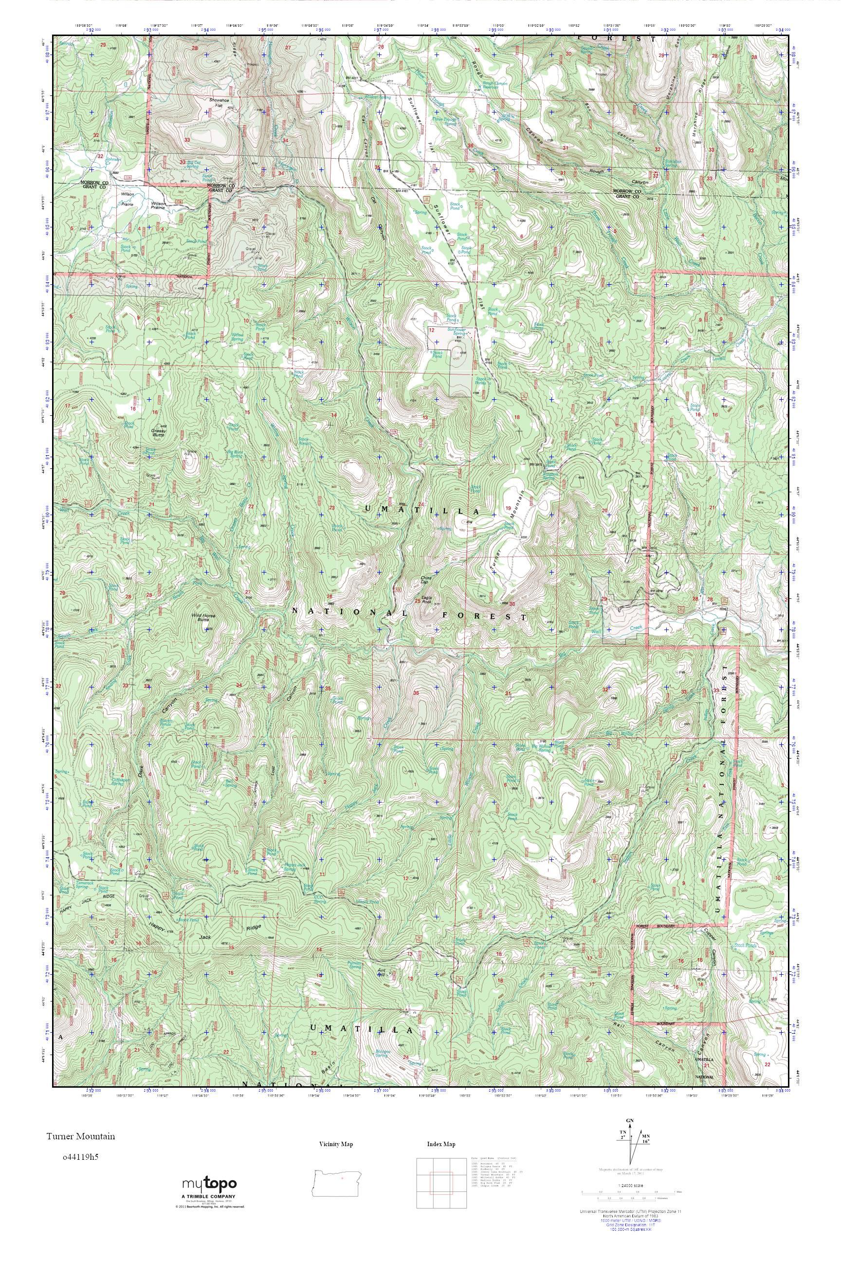 Mytopo Turner Mountain Oregon Usgs Quad Topo Map