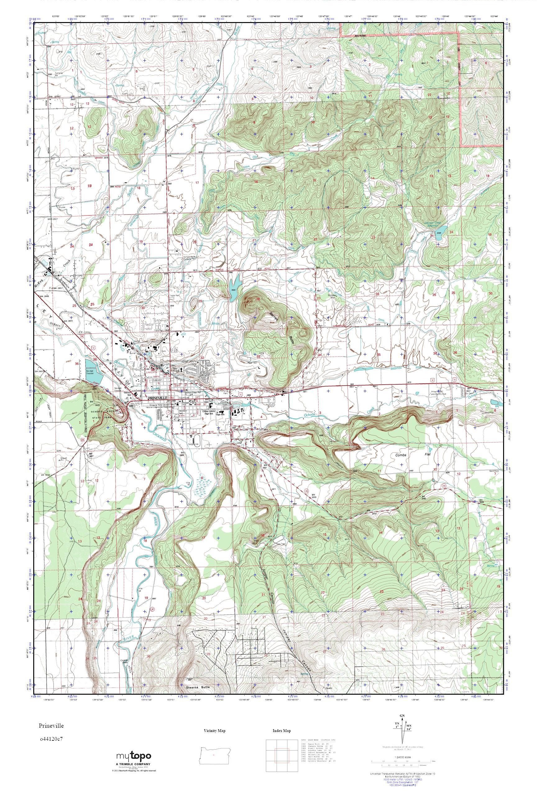 Mytopo Prineville Oregon Usgs Quad Topo Map