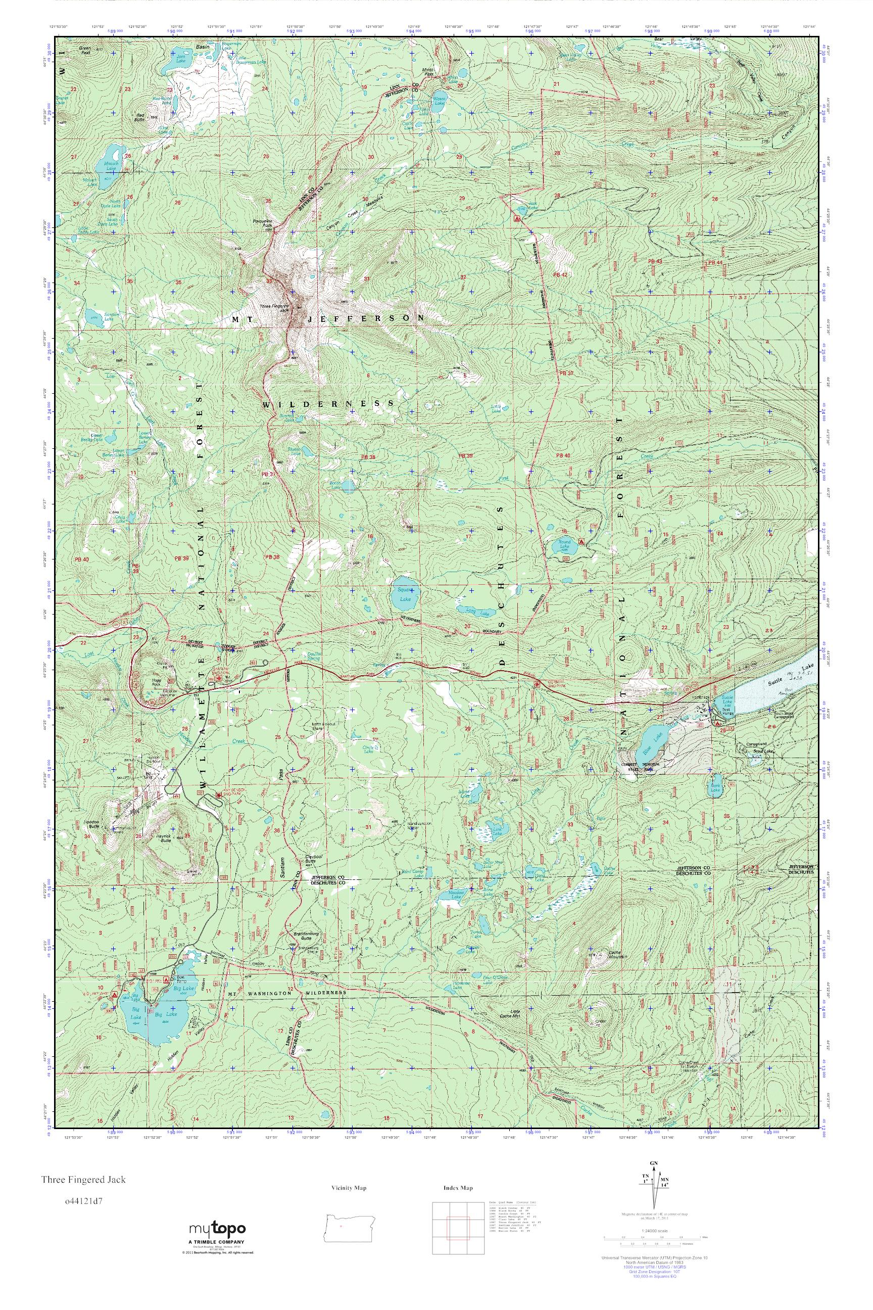 MyTopo Three Fingered Jack Oregon USGS Quad Topo Map - Topographical map of oregon