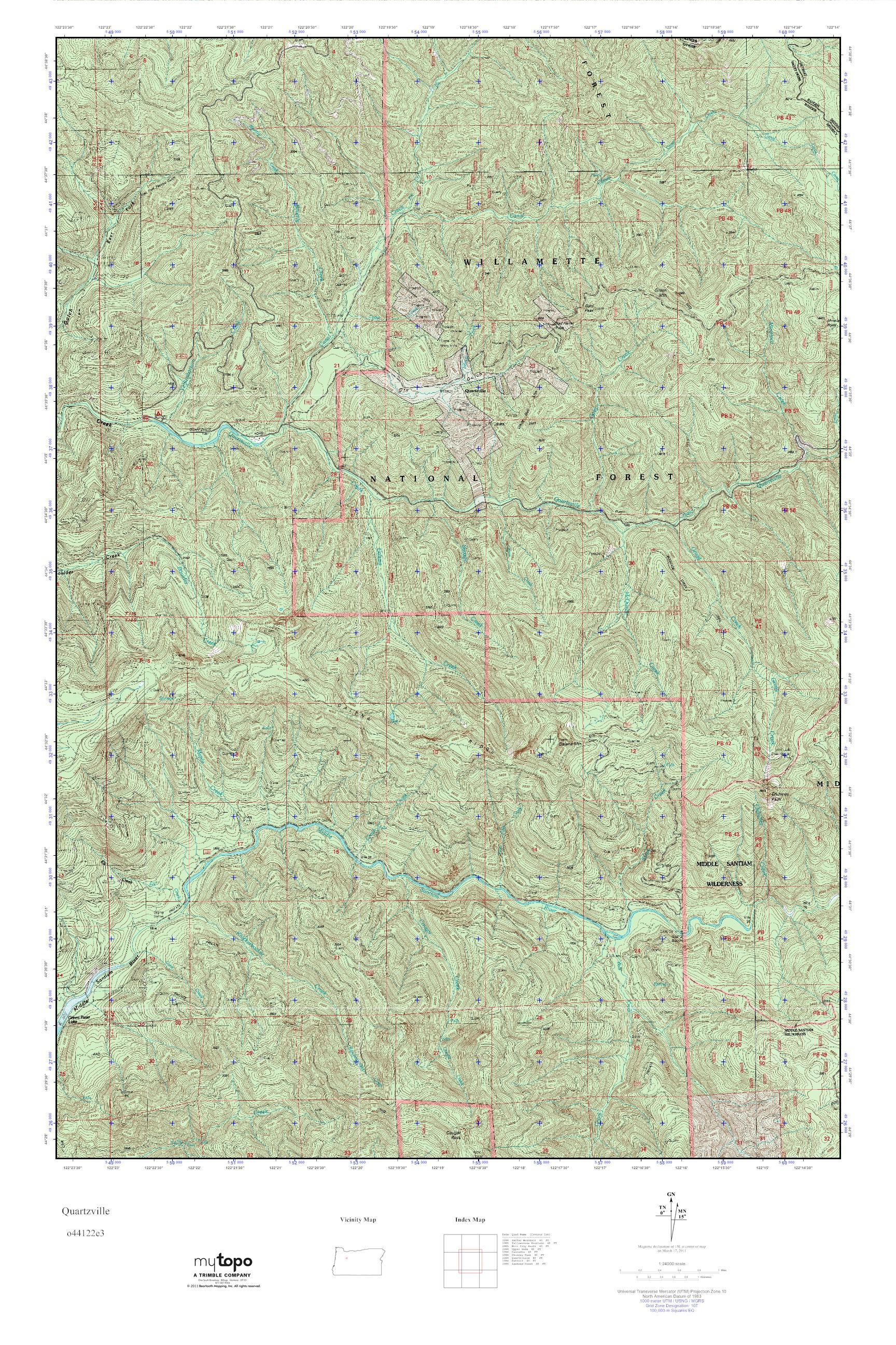 Mytopo Quartzville Oregon Usgs Quad Topo Map