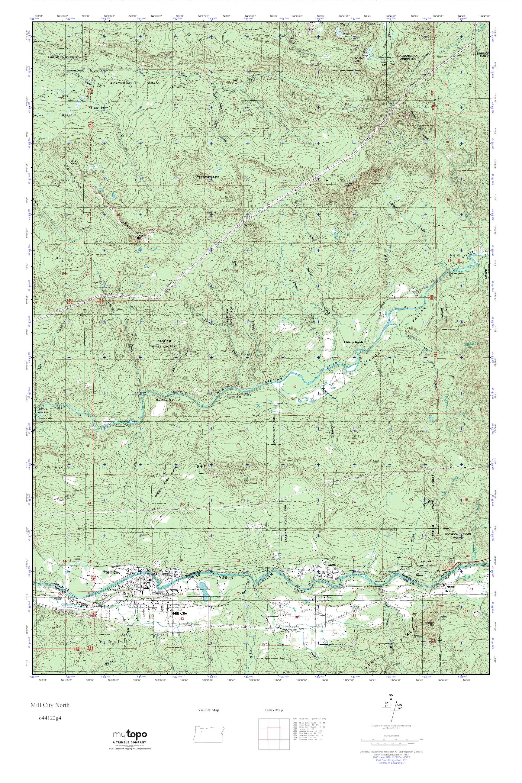 Mill City Oregon Map.Mytopo Mill City North Oregon Usgs Quad Topo Map