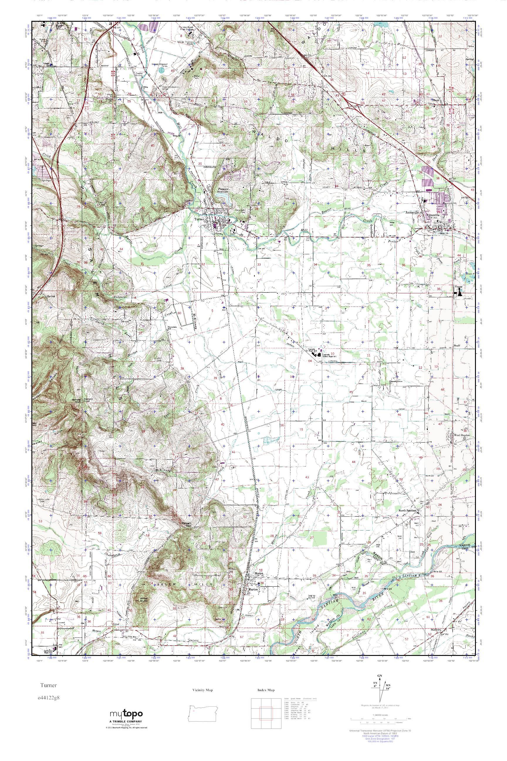 Mytopo Turner Oregon Usgs Quad Topo Map