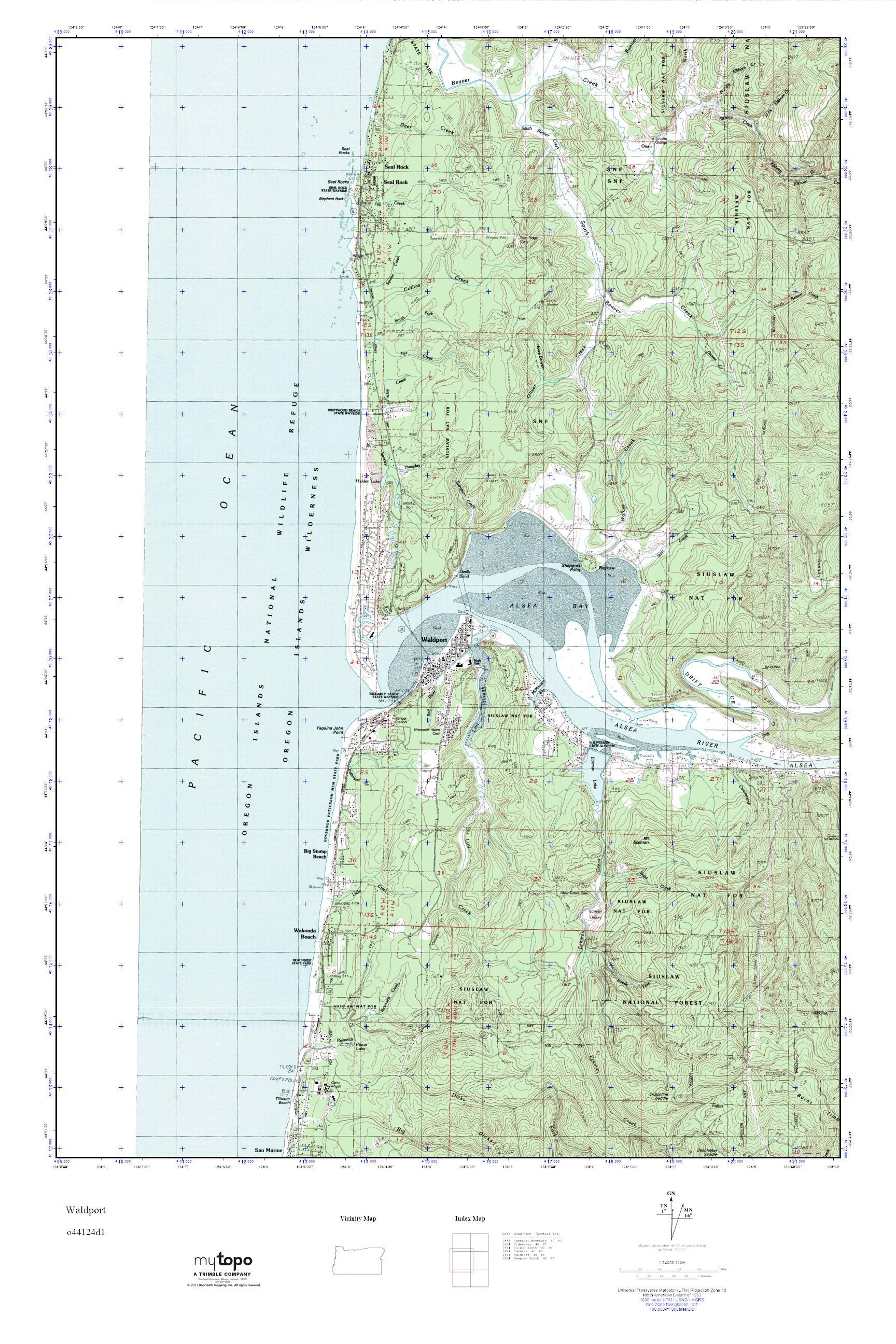 Mytopo Waldport Oregon Usgs Quad Topo Map