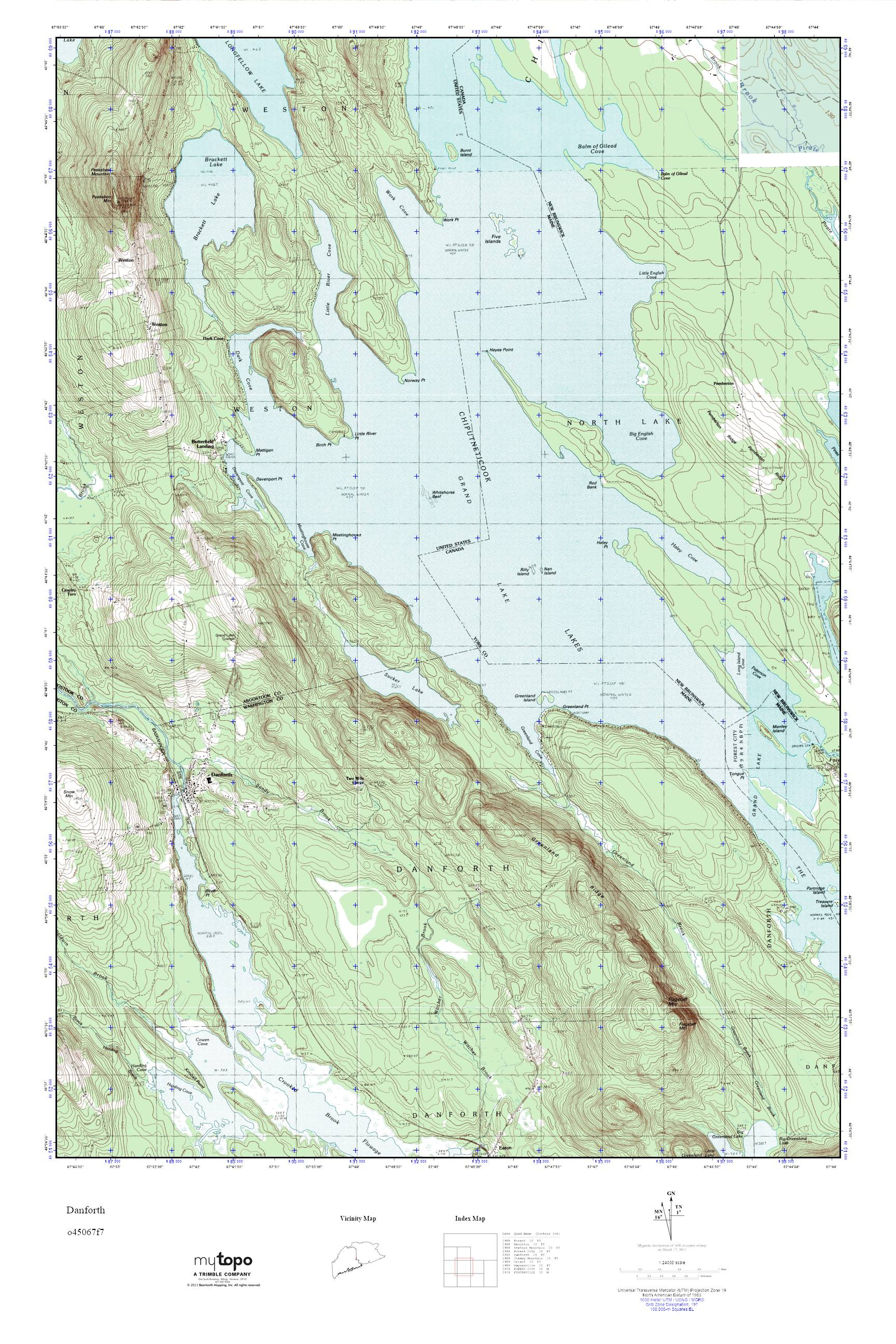 Danforth Maine Map.Mytopo Danforth Maine Usgs Quad Topo Map