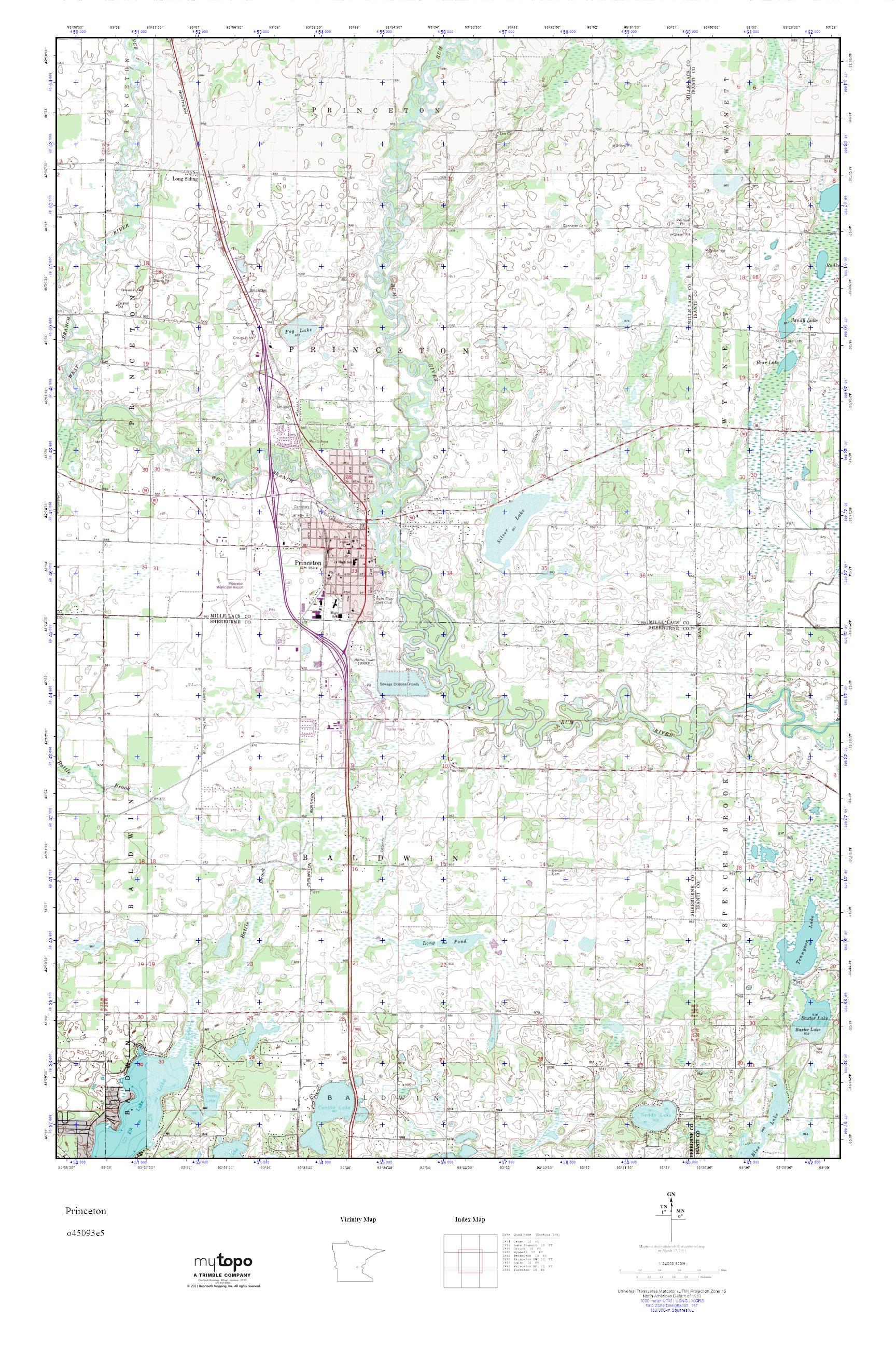 Princeton Minnesota Map.Mytopo Princeton Minnesota Usgs Quad Topo Map