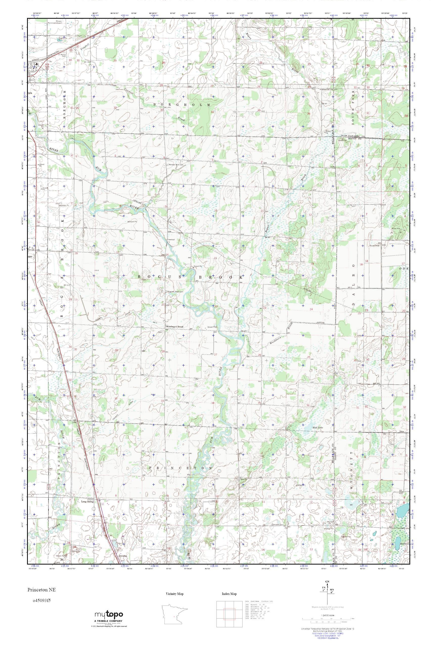 Princeton Minnesota Map.Mytopo Princeton Ne Minnesota Usgs Quad Topo Map