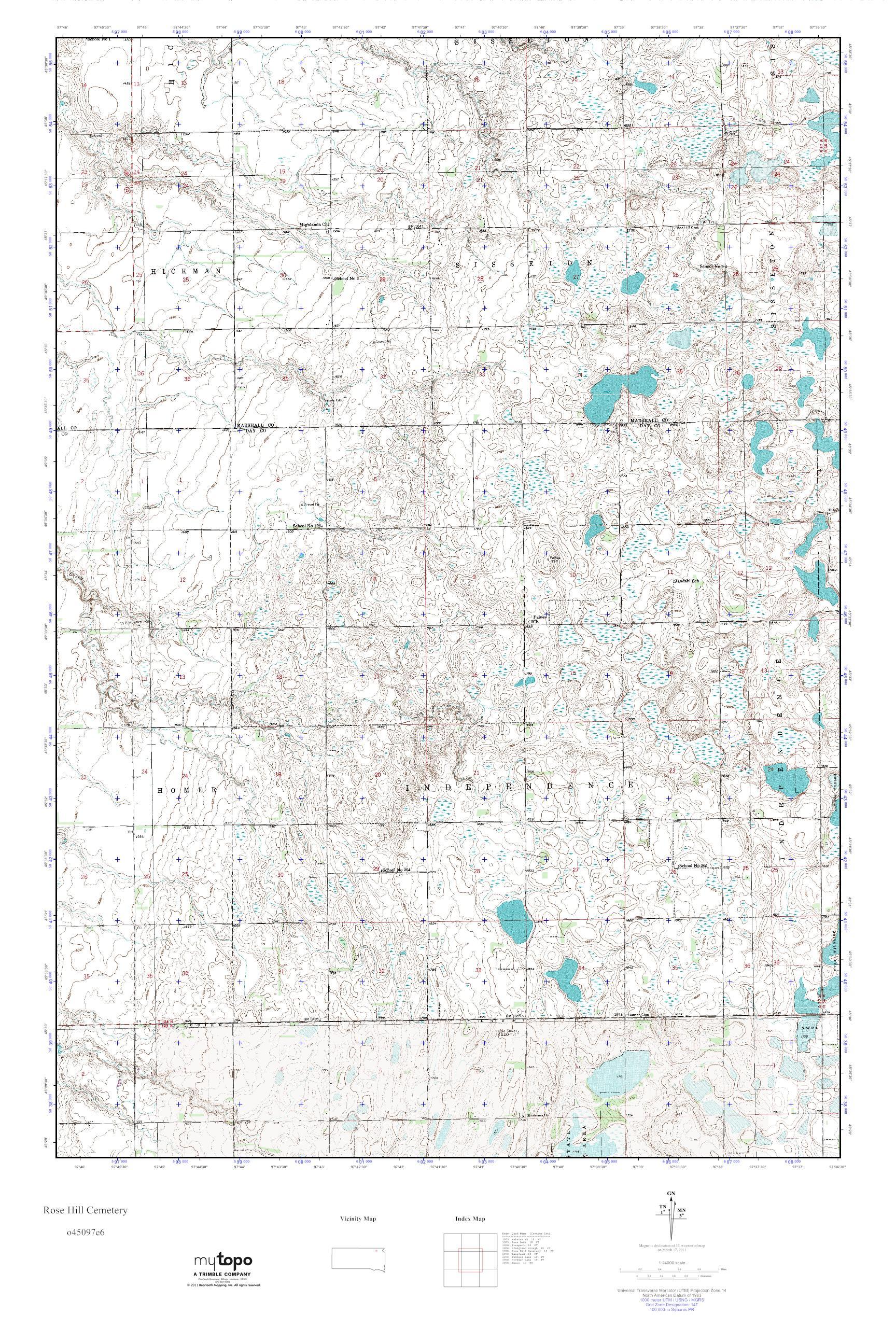 Mytopo Rose Hill Cemetery South Dakota Usgs Quad Topo Map
