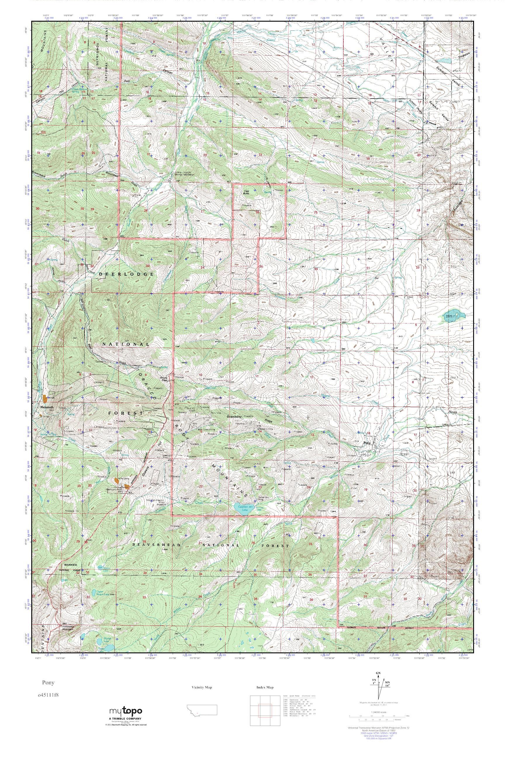 Pony Montana Map.Mytopo Pony Montana Usgs Quad Topo Map