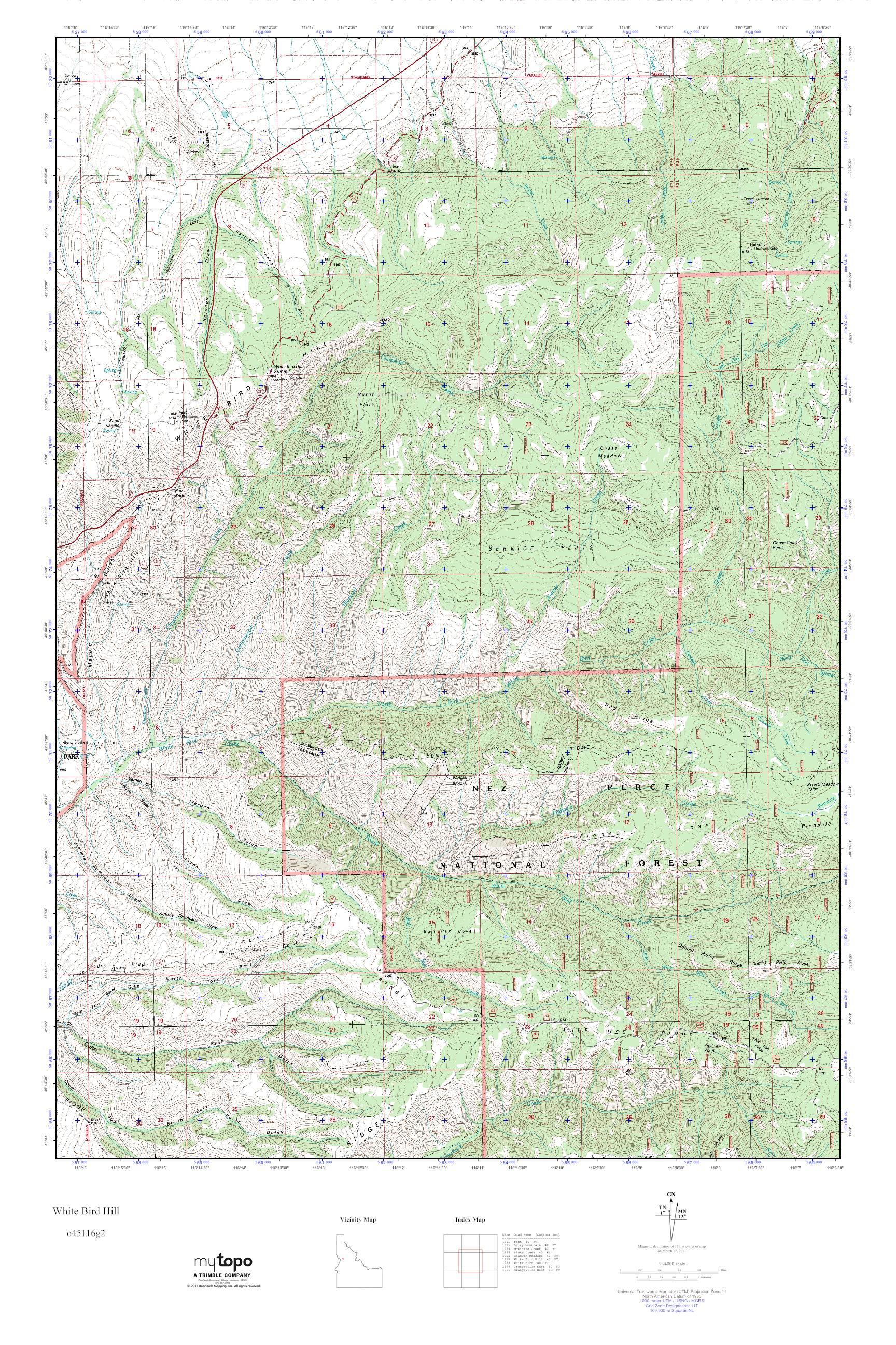 Mytopo White Bird Hill Idaho Usgs Quad Topo Map