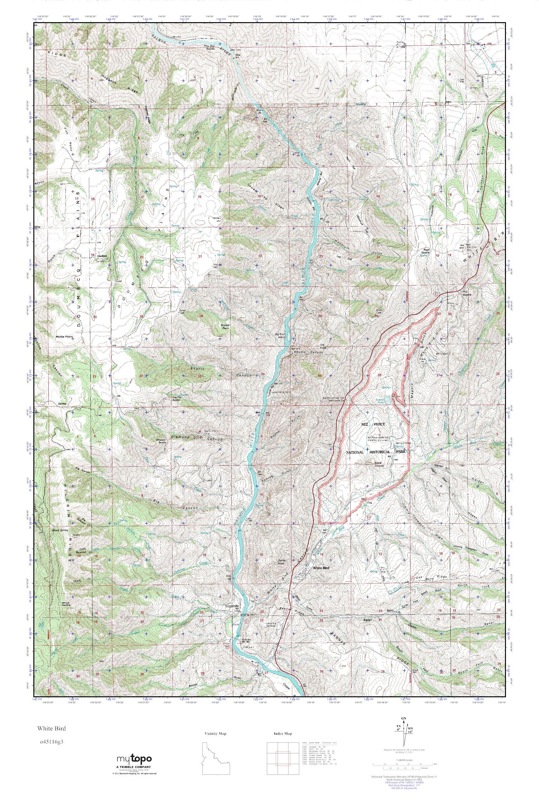 Mytopo White Bird Idaho Usgs Quad Topo Map