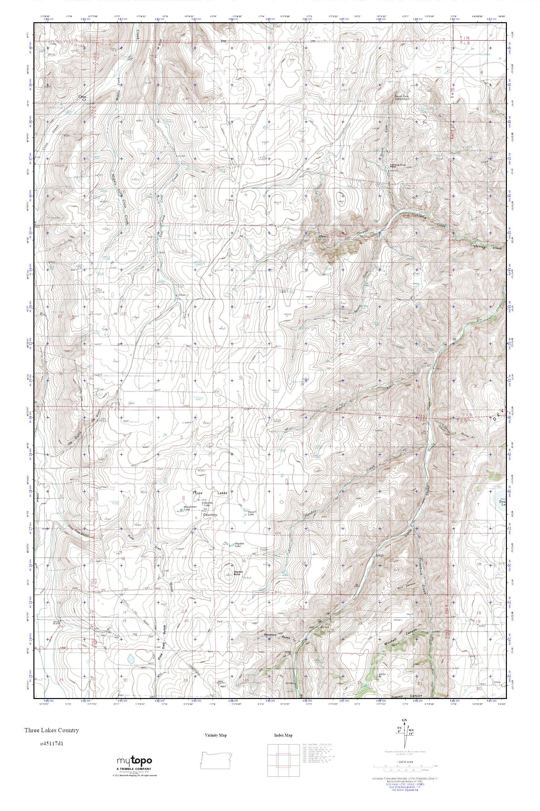 Mytopo Three Lakes Country Oregon Usgs Quad Topo Map