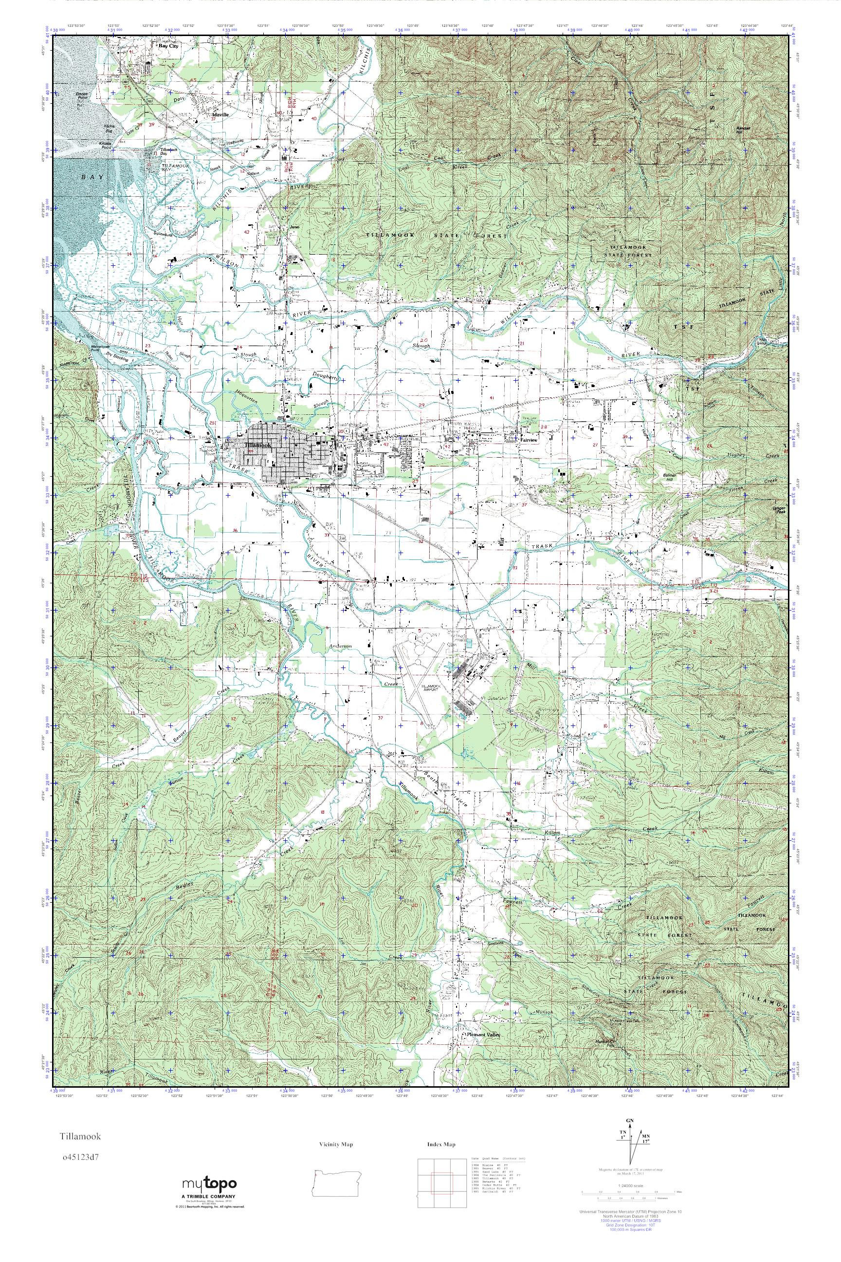 Mytopo Tillamook Oregon Usgs Quad Topo Map