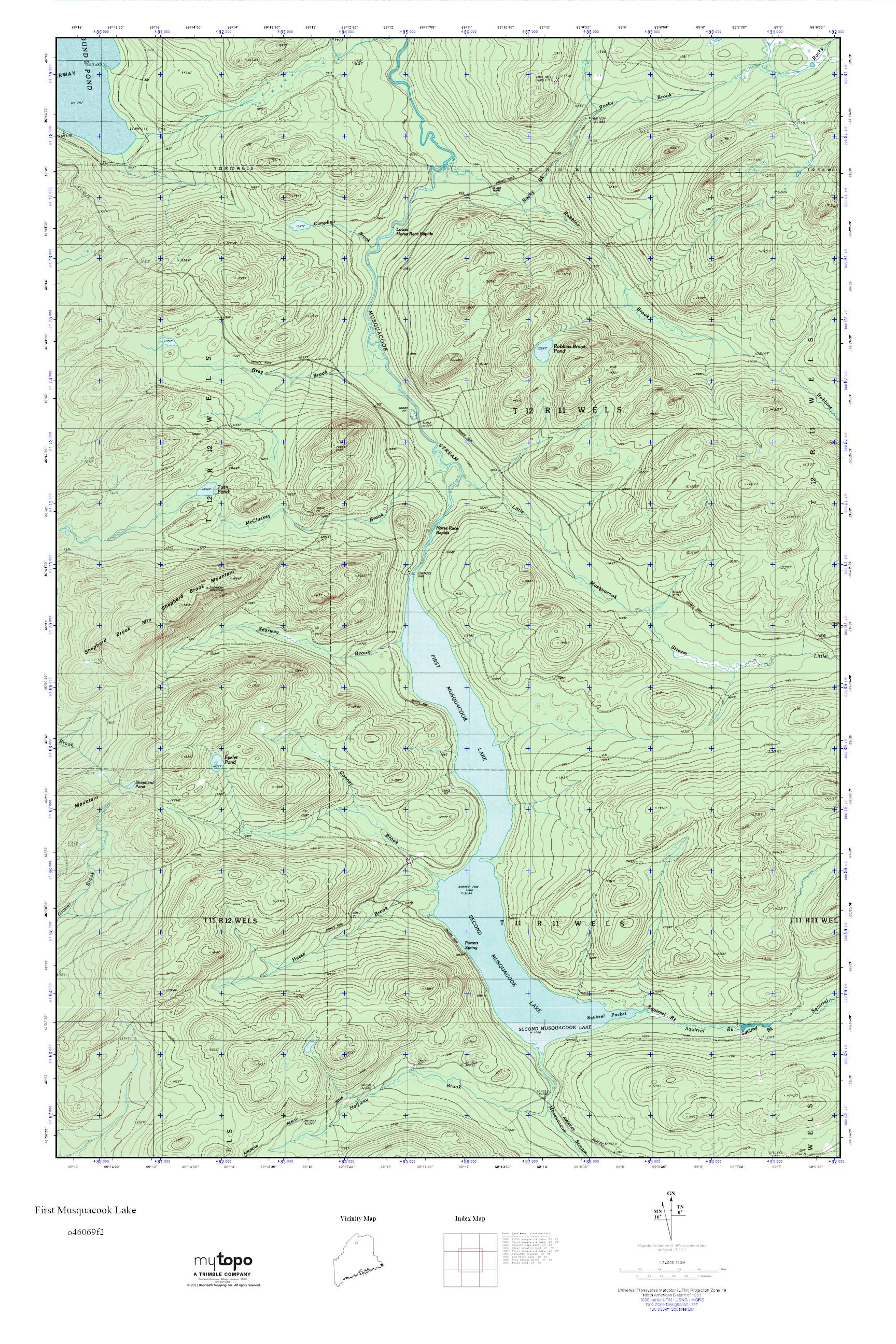 Topo Map Of Maine.Mytopo First Musquacook Lake Maine Usgs Quad Topo Map