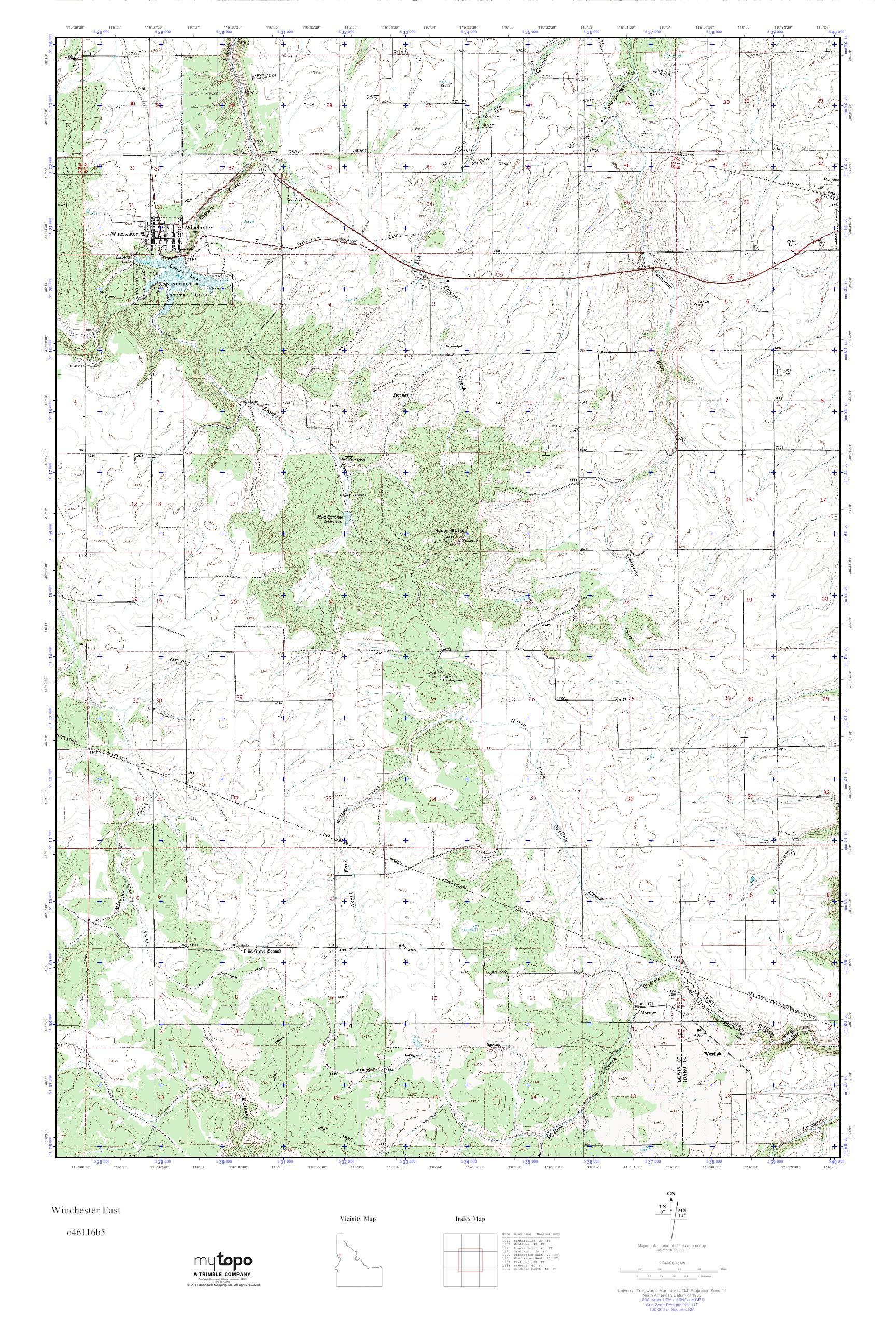 Winchester Idaho Map.Mytopo Winchester East Idaho Usgs Quad Topo Map