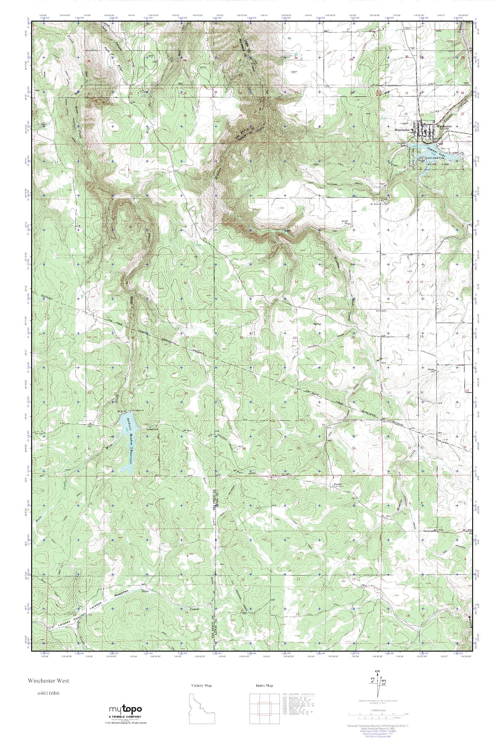 Winchester Idaho Map.Mytopo Winchester West Idaho Usgs Quad Topo Map