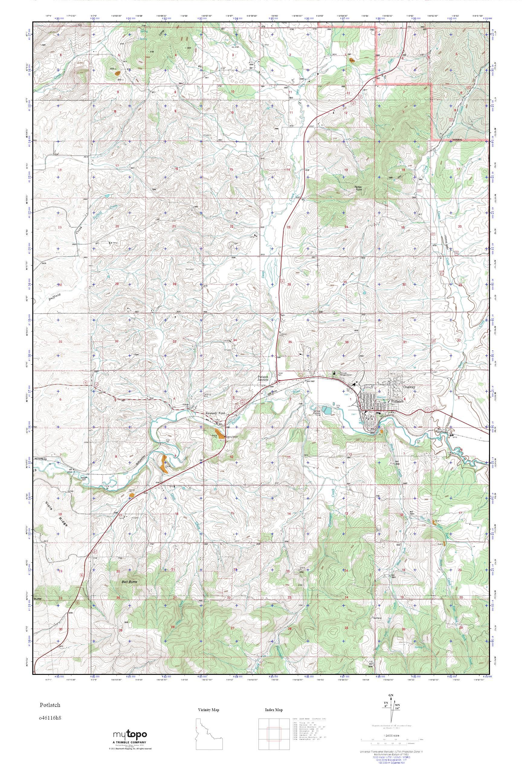 Potlatch Idaho Map.Mytopo Potlatch Idaho Usgs Quad Topo Map