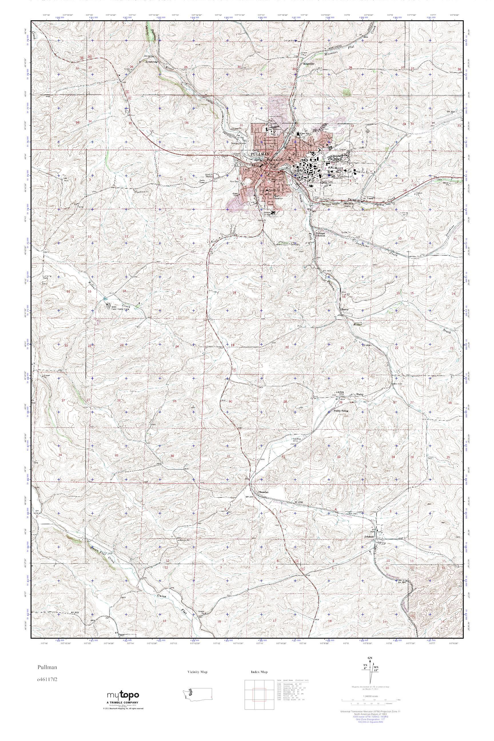 Mytopo Pullman Washington Usgs Quad Topo Map