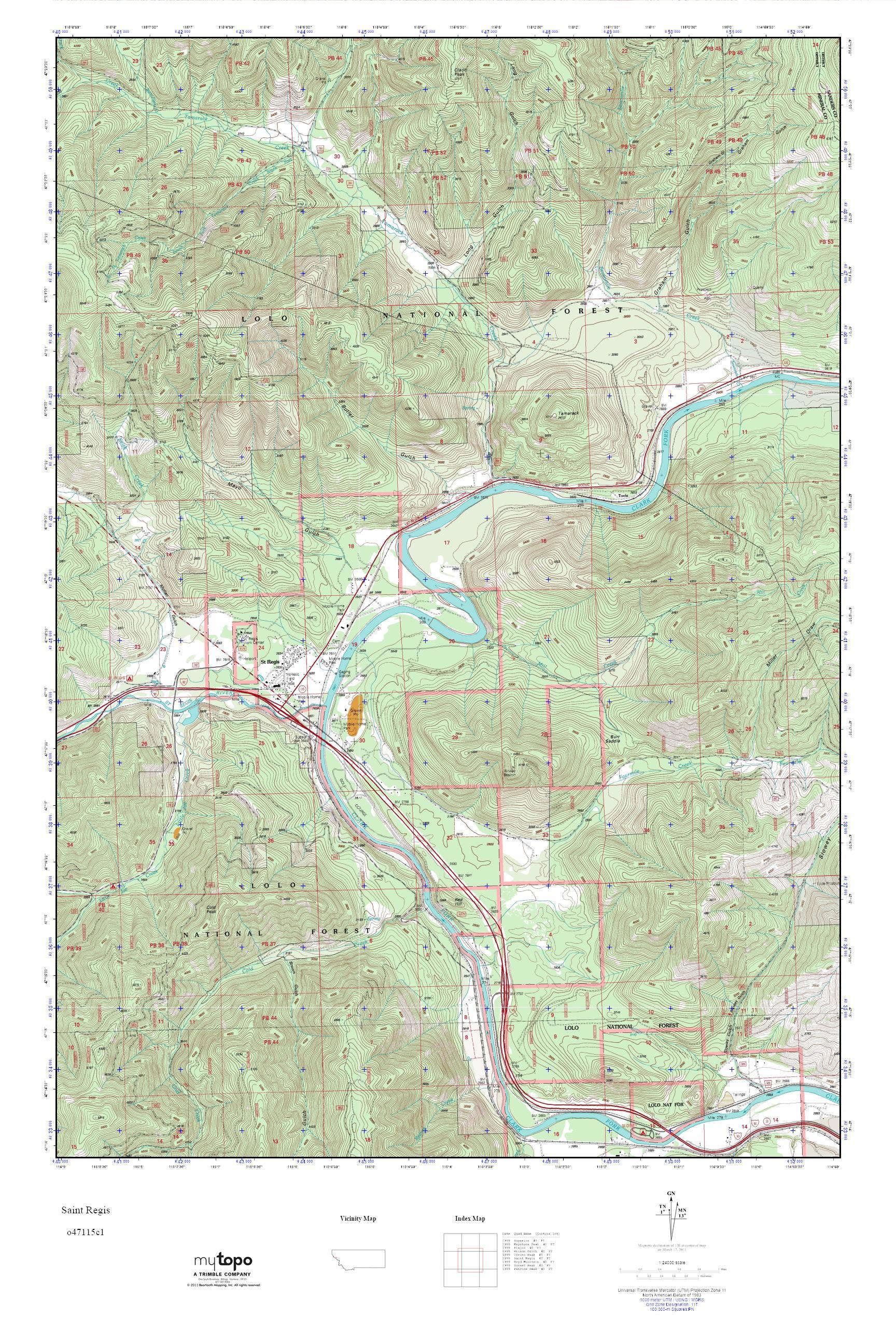 MyTopo Saint Regis Montana USGS Quad Topo Map - Montana topo map