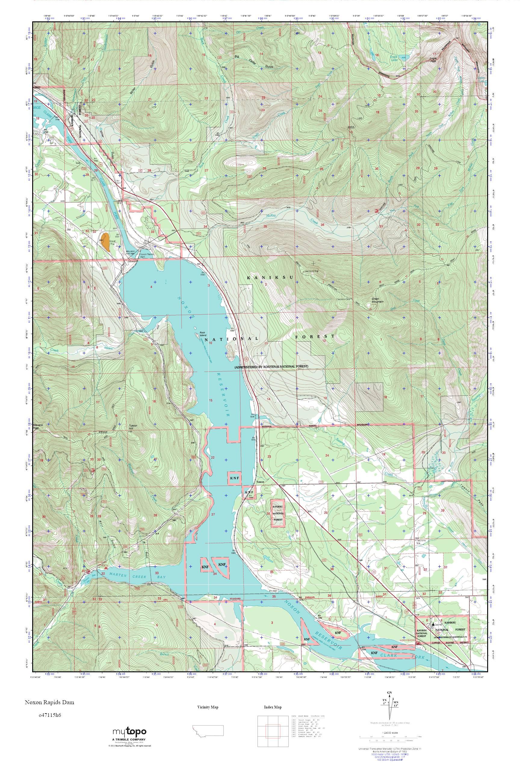 MyTopo Noxon Rapids Dam, Montana USGS Quad Topo Map