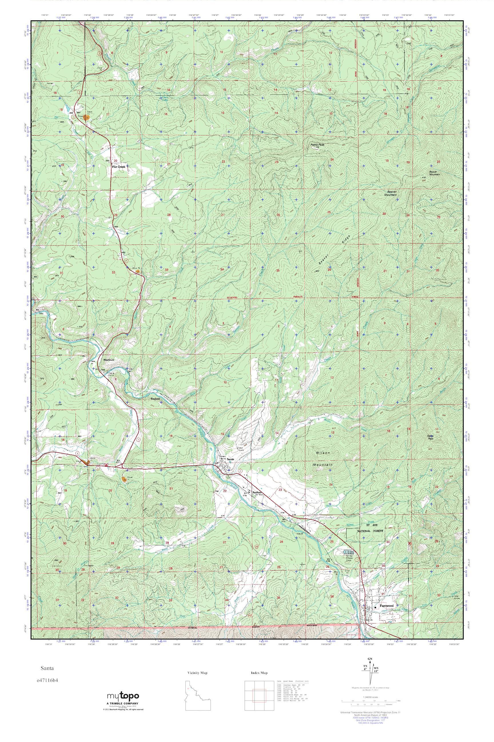 MyTopo Santa, Idaho USGS Quad Topo Map