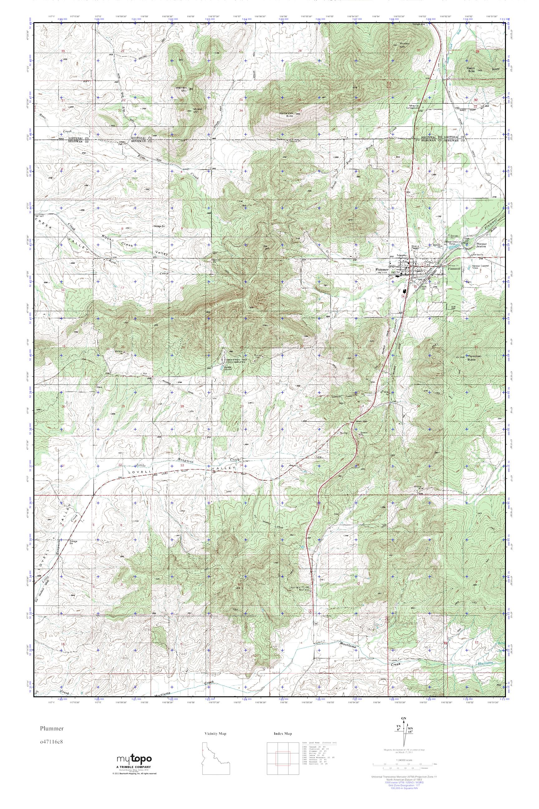 Plummer Idaho Map.Mytopo Plummer Idaho Usgs Quad Topo Map