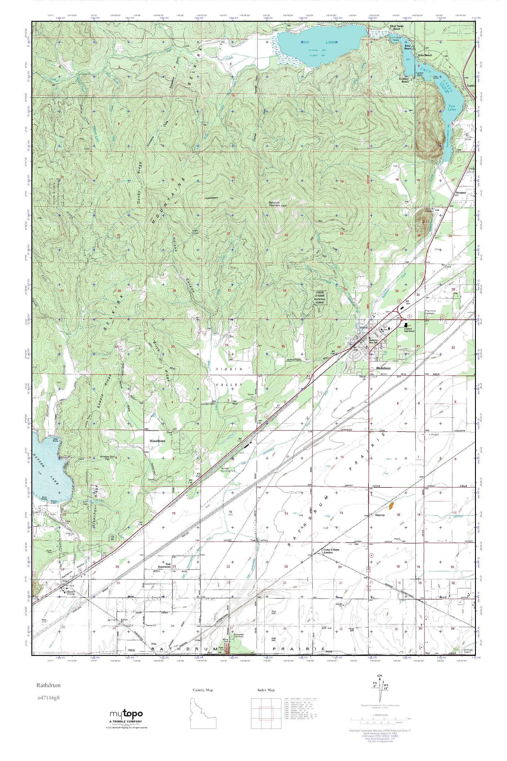 Mytopo Rathdrum Idaho Usgs Quad Topo Map